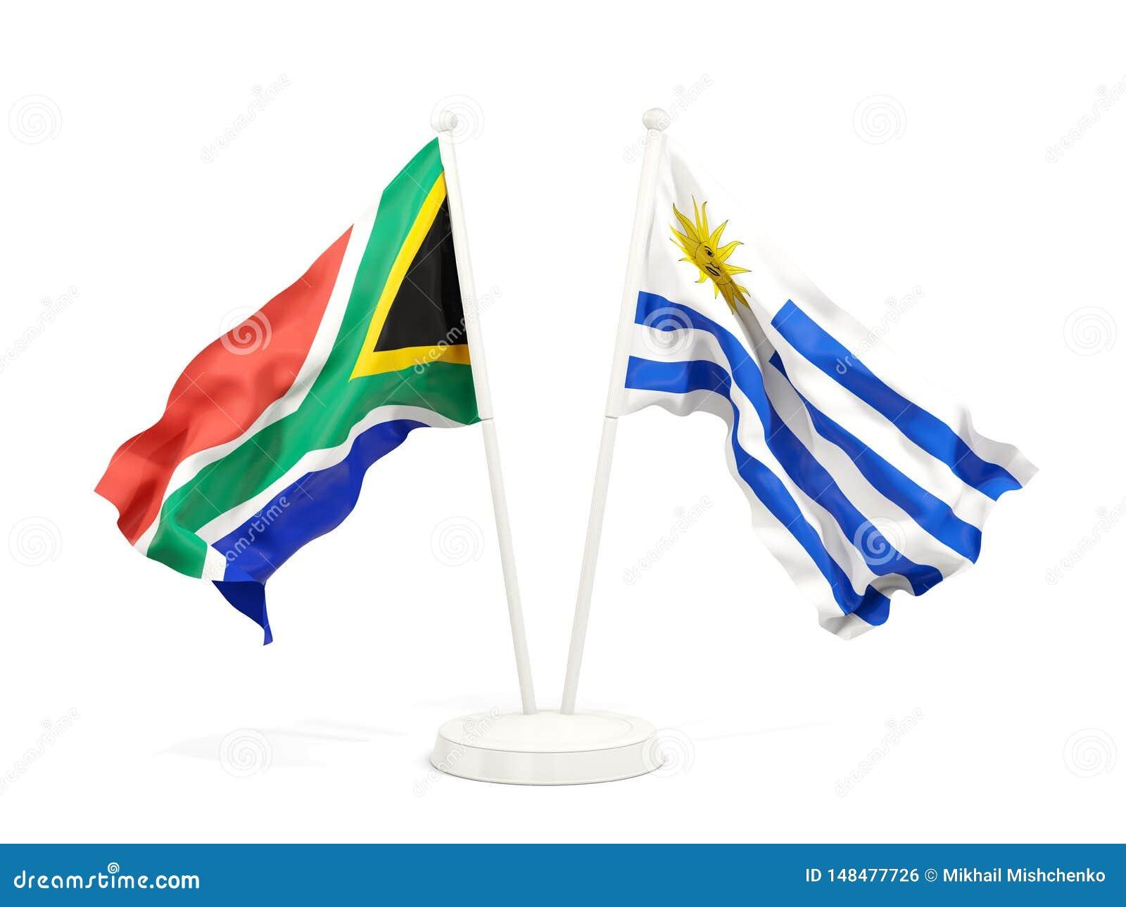 Deux drapeaux de ondulation de l Afrique du Sud et de l Uruguay d isolement sur le blanc