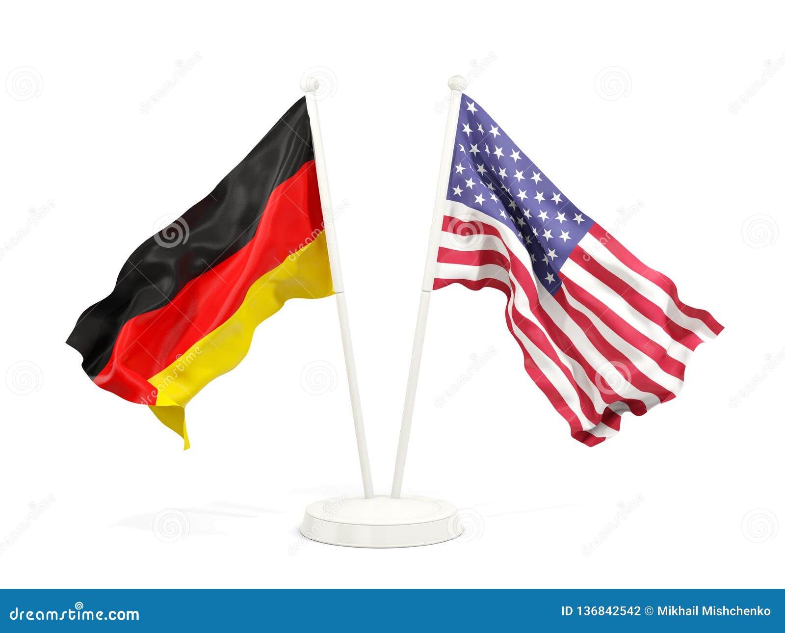 Deux drapeaux de ondulation de l Allemagne et des Etats-Unis