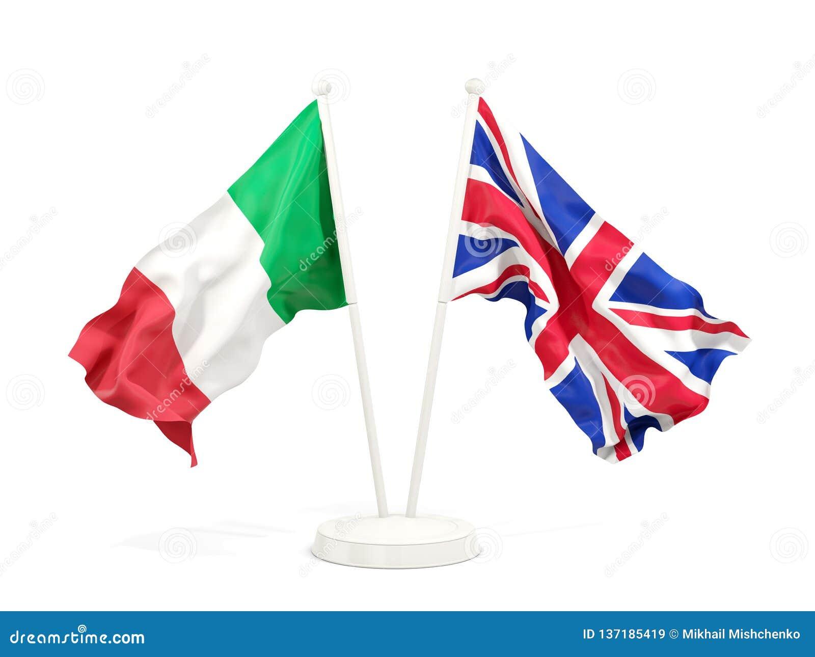 Deux drapeaux de ondulation de l Italie et du R-U