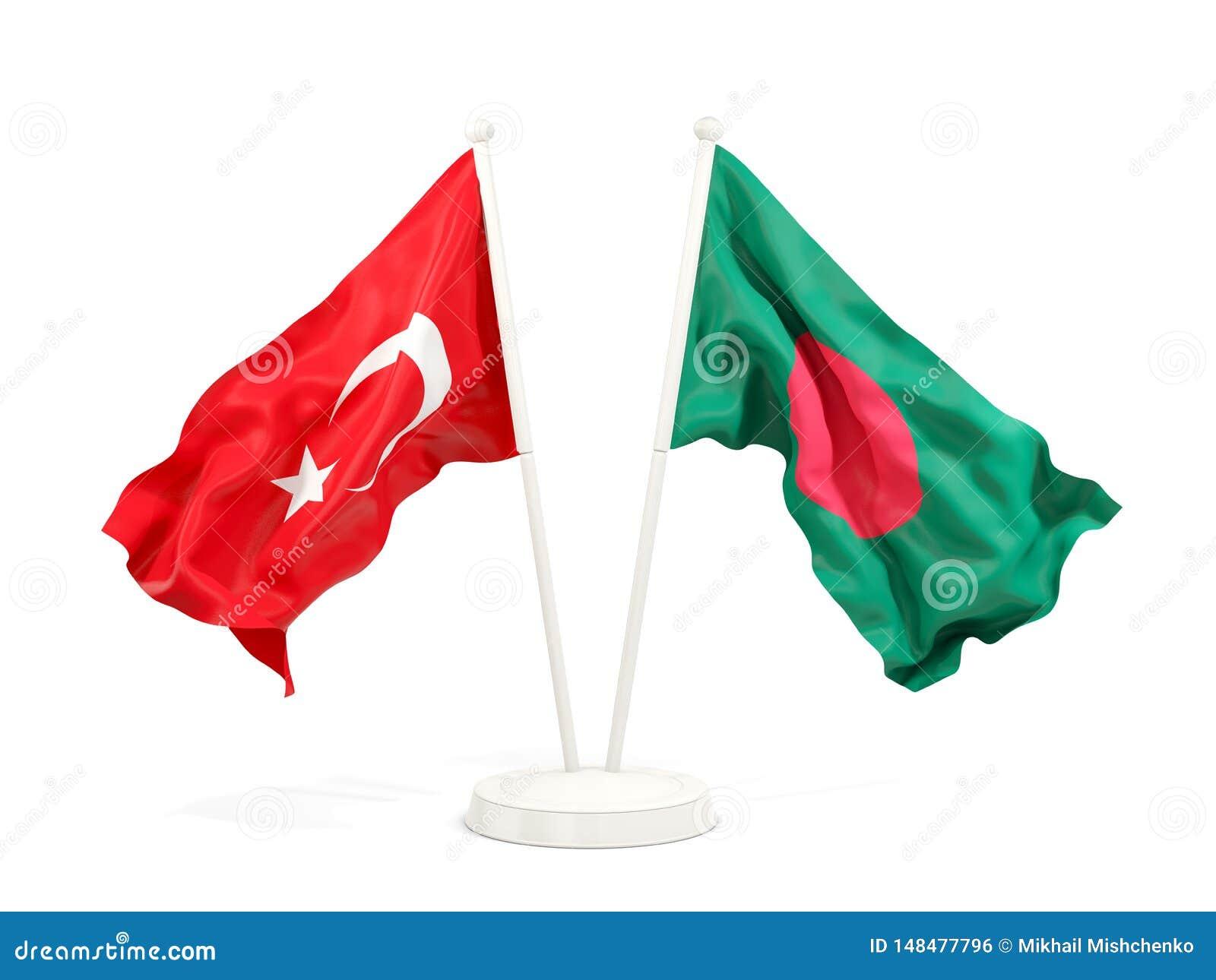 Deux drapeaux de ondulation de la Turquie et du Bangladesh d isolement sur le blanc