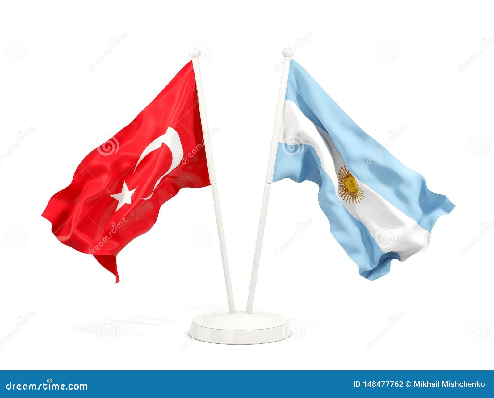 Deux drapeaux de ondulation de la Turquie et de l Argentine d isolement sur le blanc
