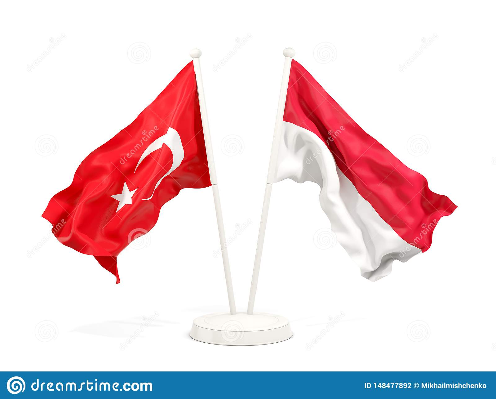 Deux drapeaux de ondulation de la Turquie et de l Indon?sie d isolement sur le blanc