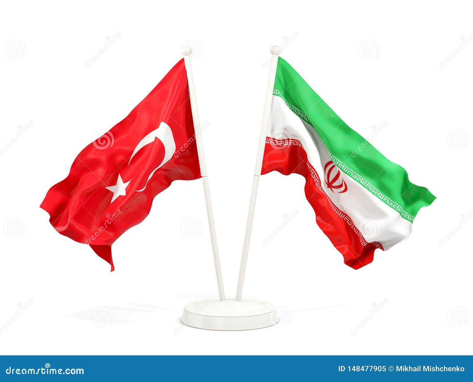Deux drapeaux de ondulation de la Turquie et de l Iran d isolement sur le blanc