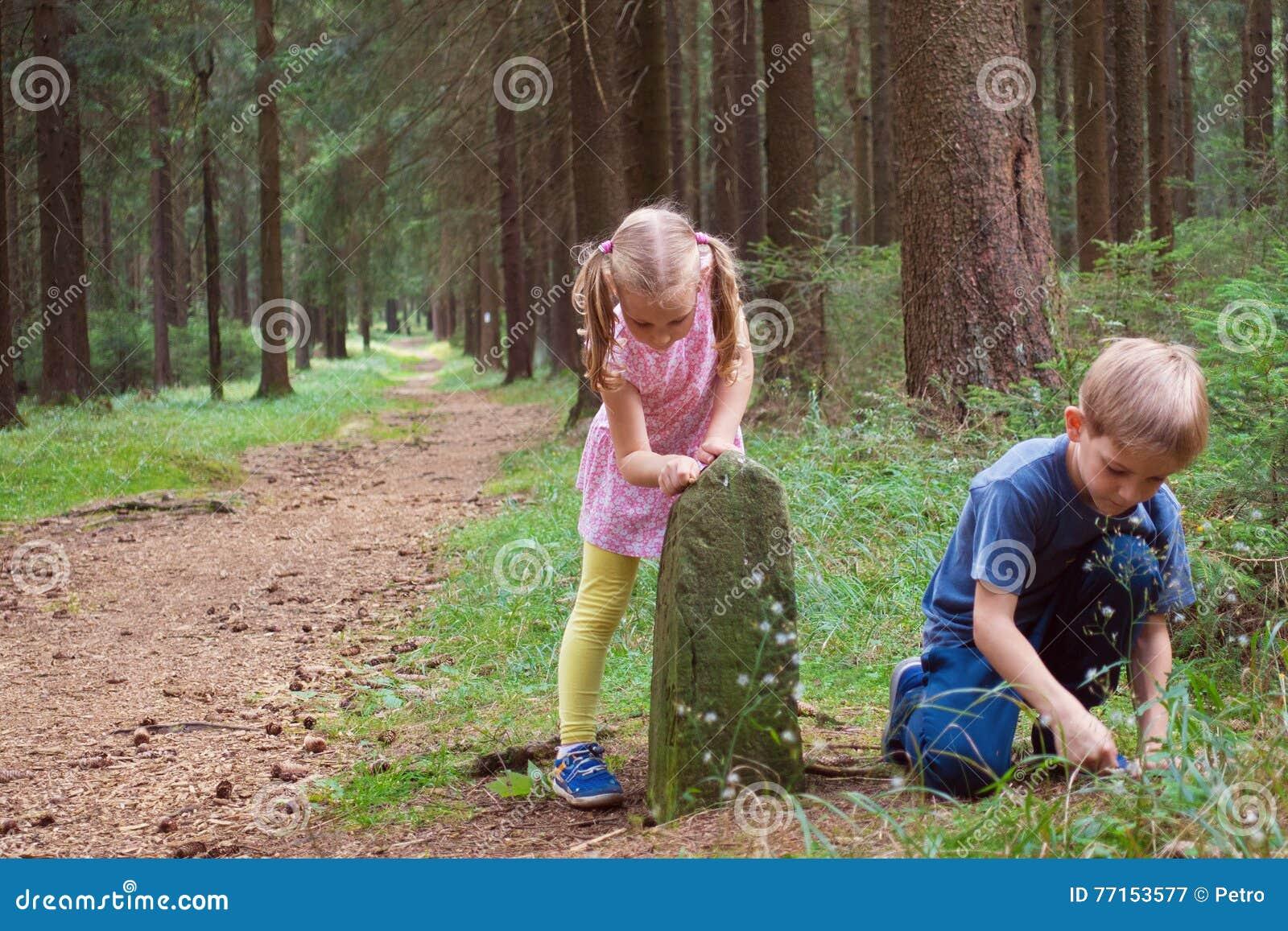 Deux enfants de mêmes parents heureux jouant dans la forêt