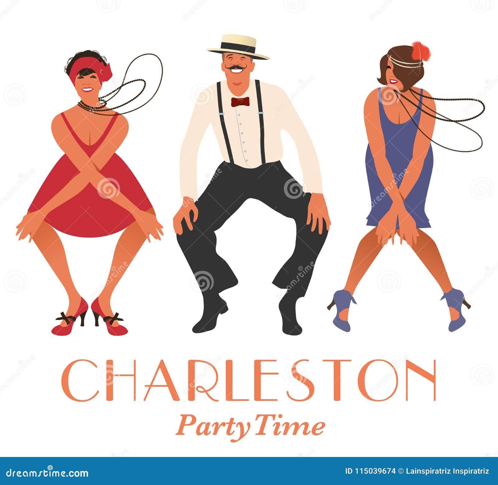 Deux filles d aileron et un homme dansant Charleston