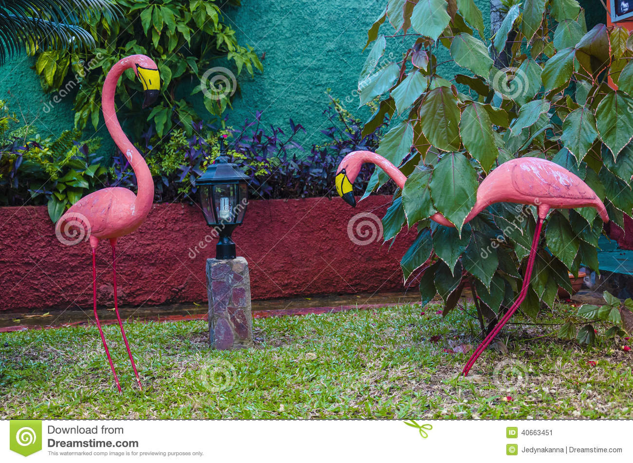 deux flamants roses dans un des jardins des cara bes belle d coration de jardin photo stock. Black Bedroom Furniture Sets. Home Design Ideas