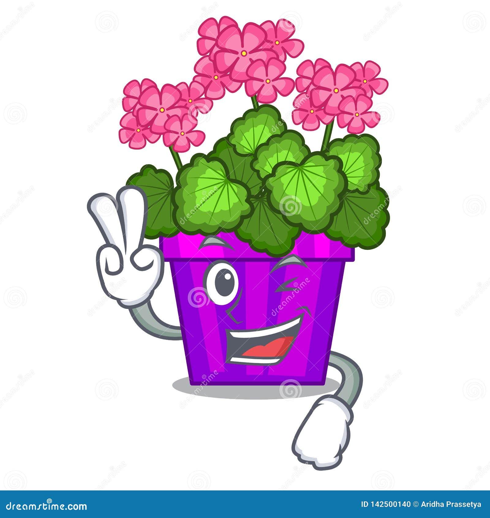 Deux fleurs de géranium de doigt collent la tige de caractère