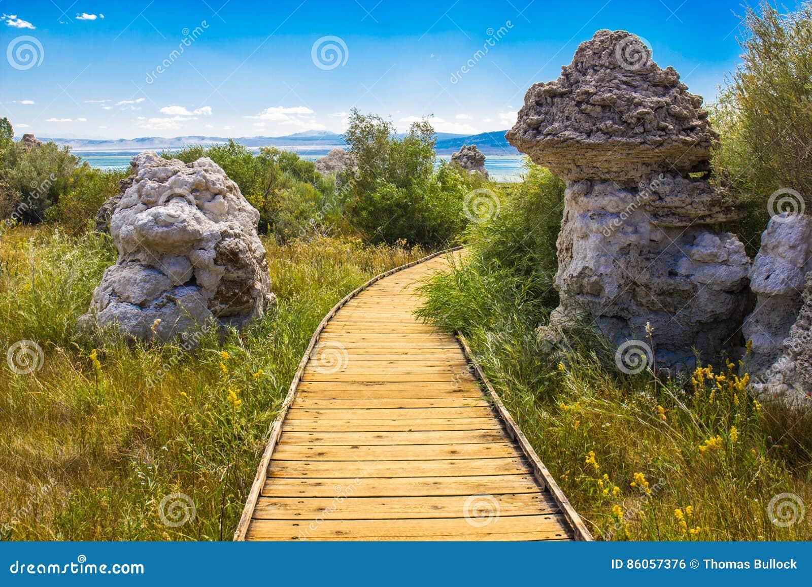 Deux formations de roche de tuf s approchent du lac mono