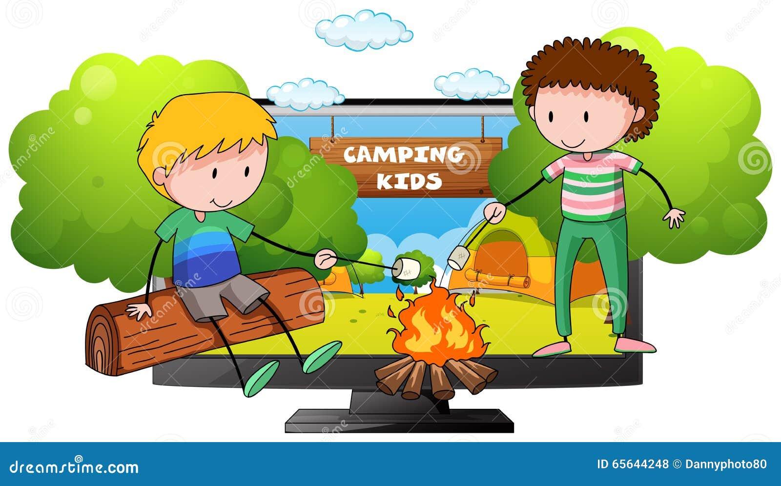 Deux garçons à l au sol de camp