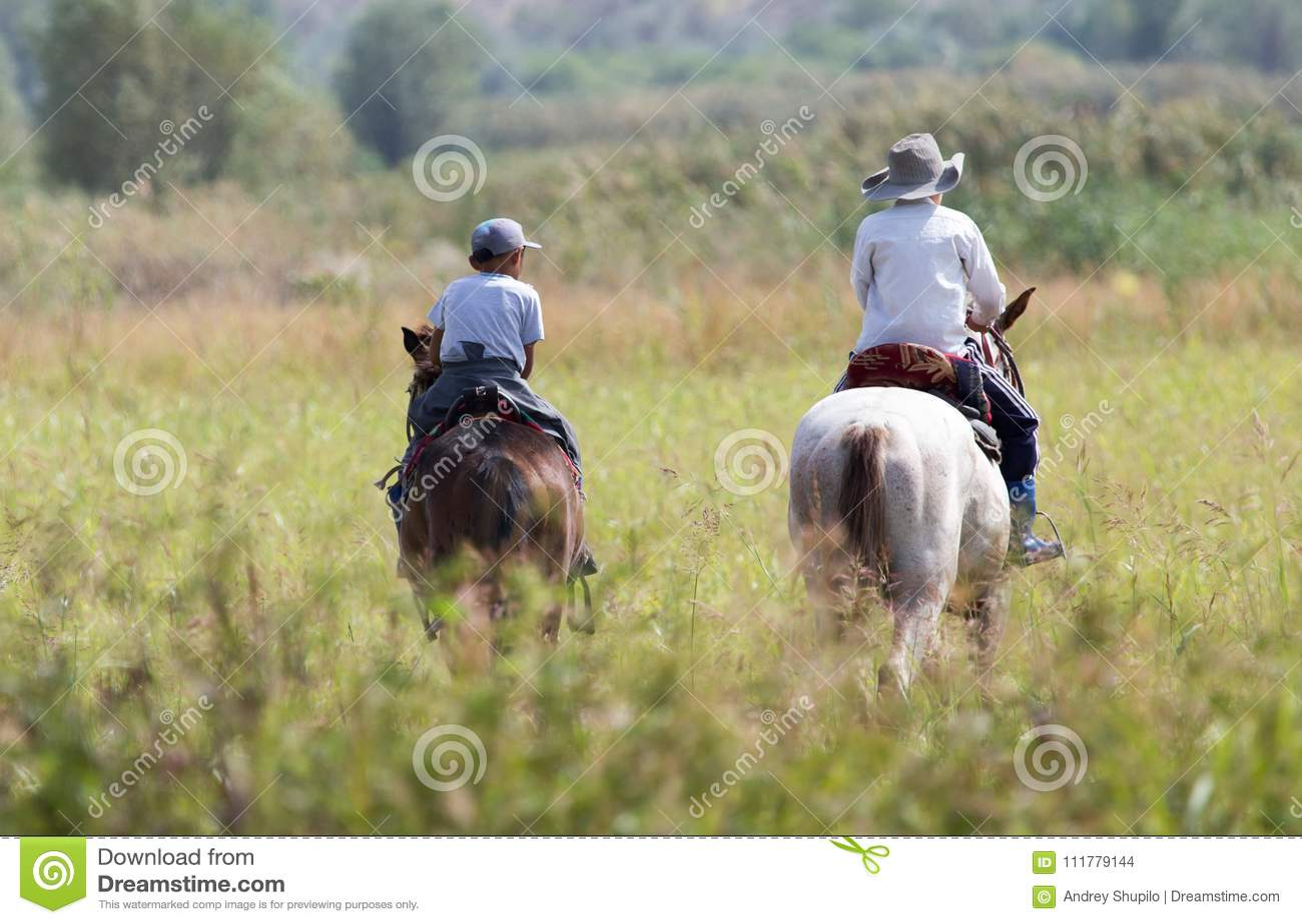 Deux garçons sur un cheval sur la nature