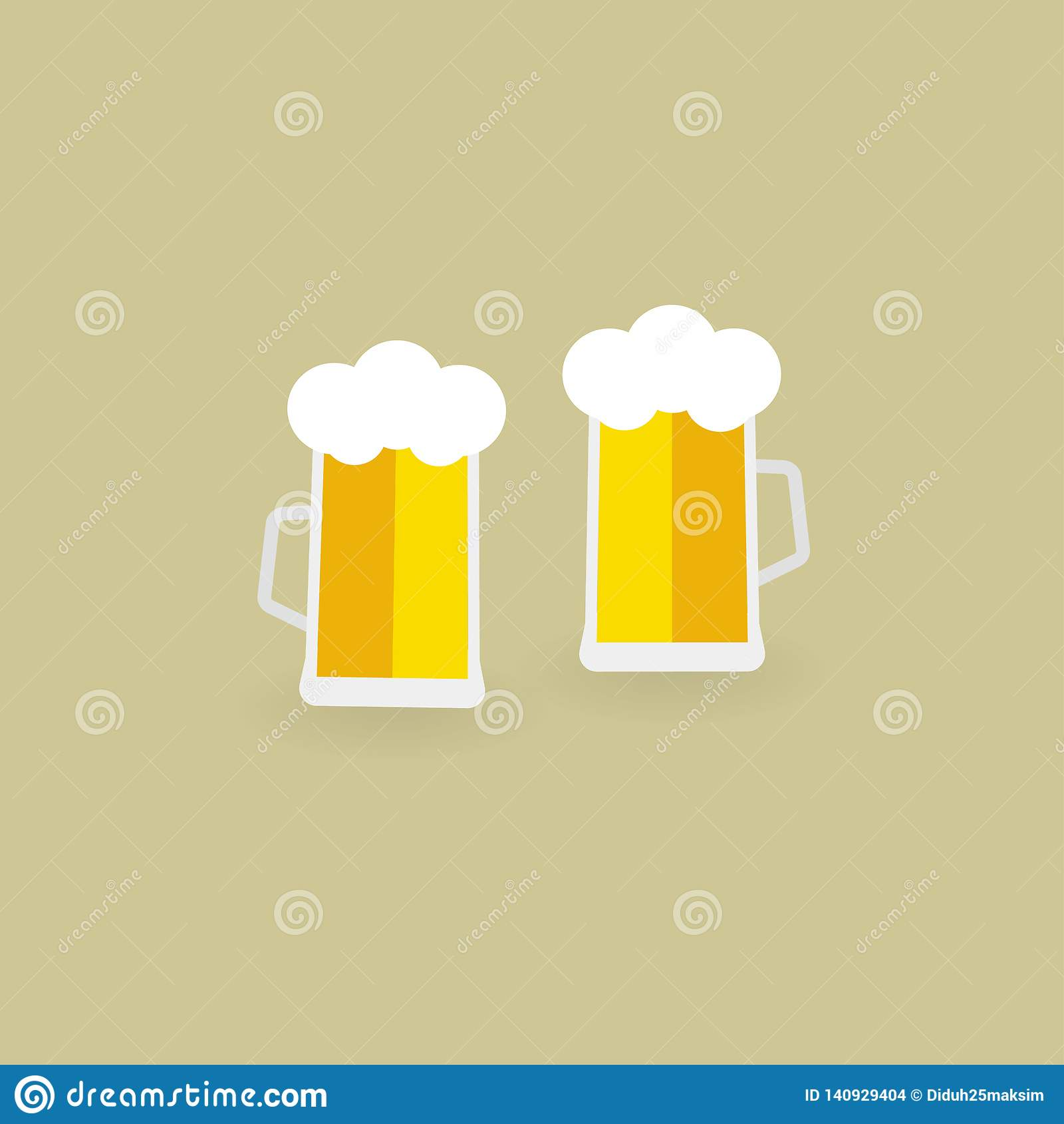 Deux glaces de bière Bière Illustration de vecteur ENV 10