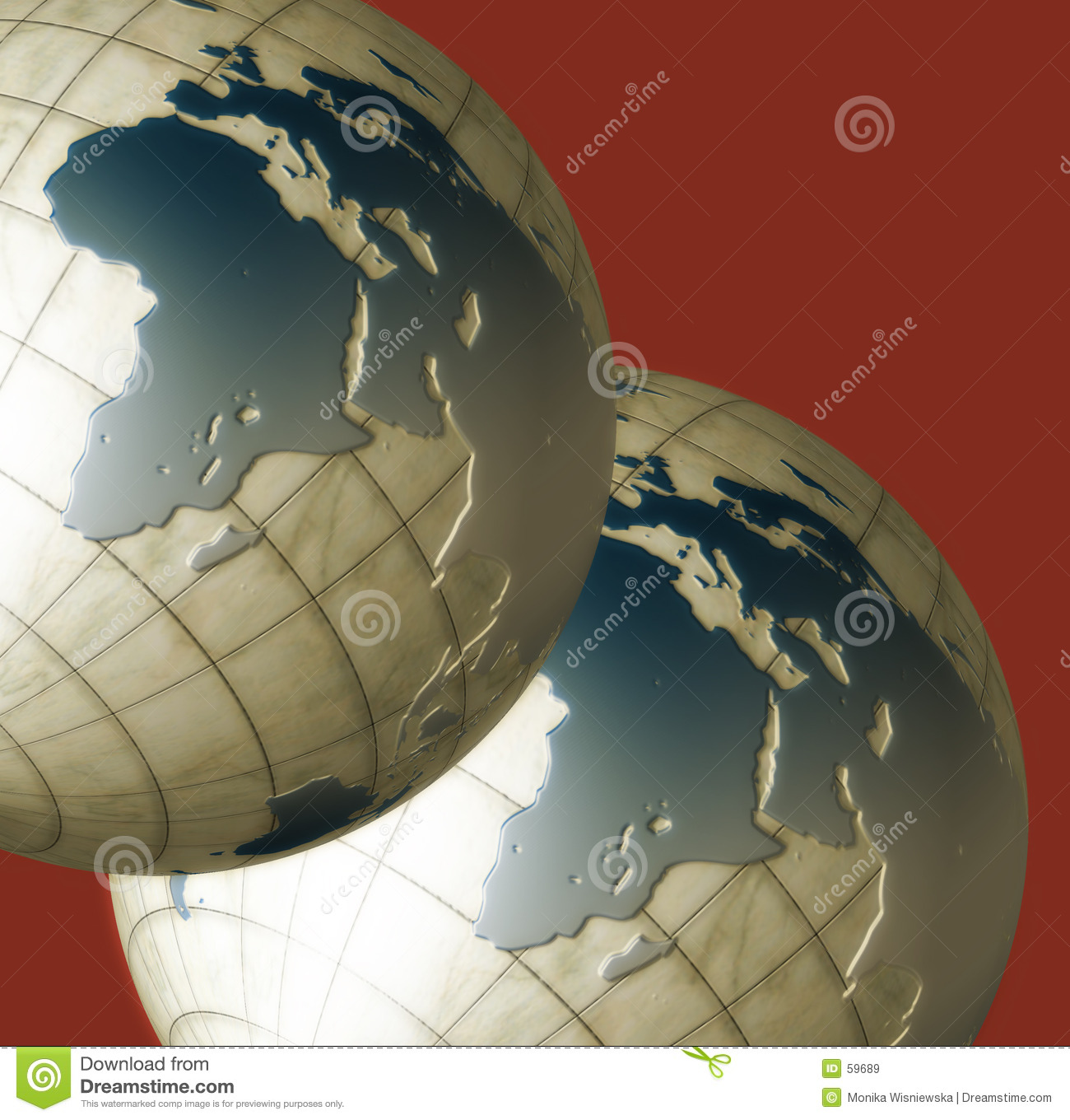 Download Deux globes illustration stock. Illustration du glace, bleu - 59689