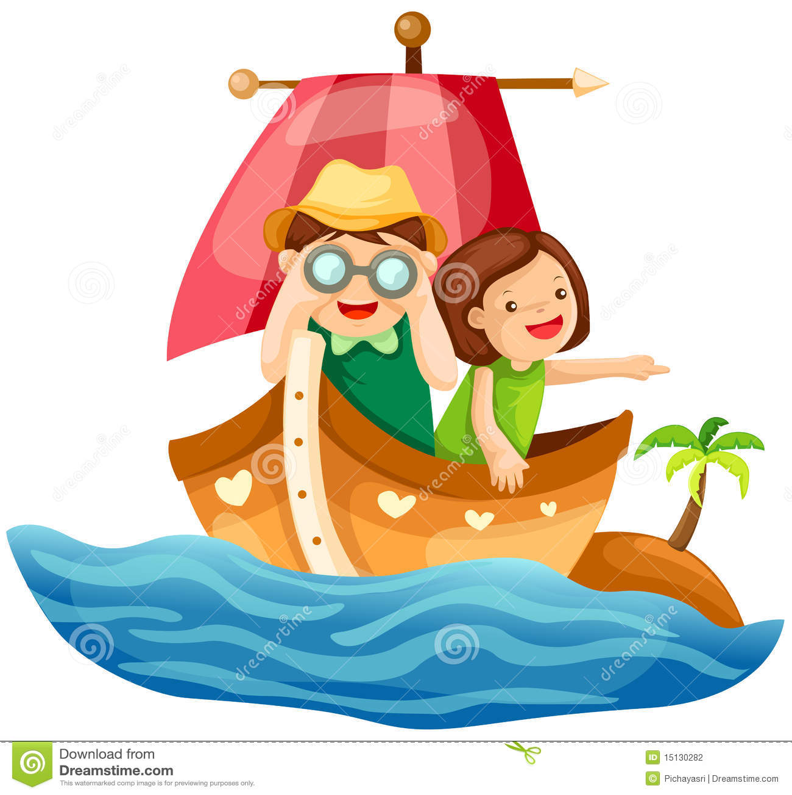 Deux gosses naviguant en mer