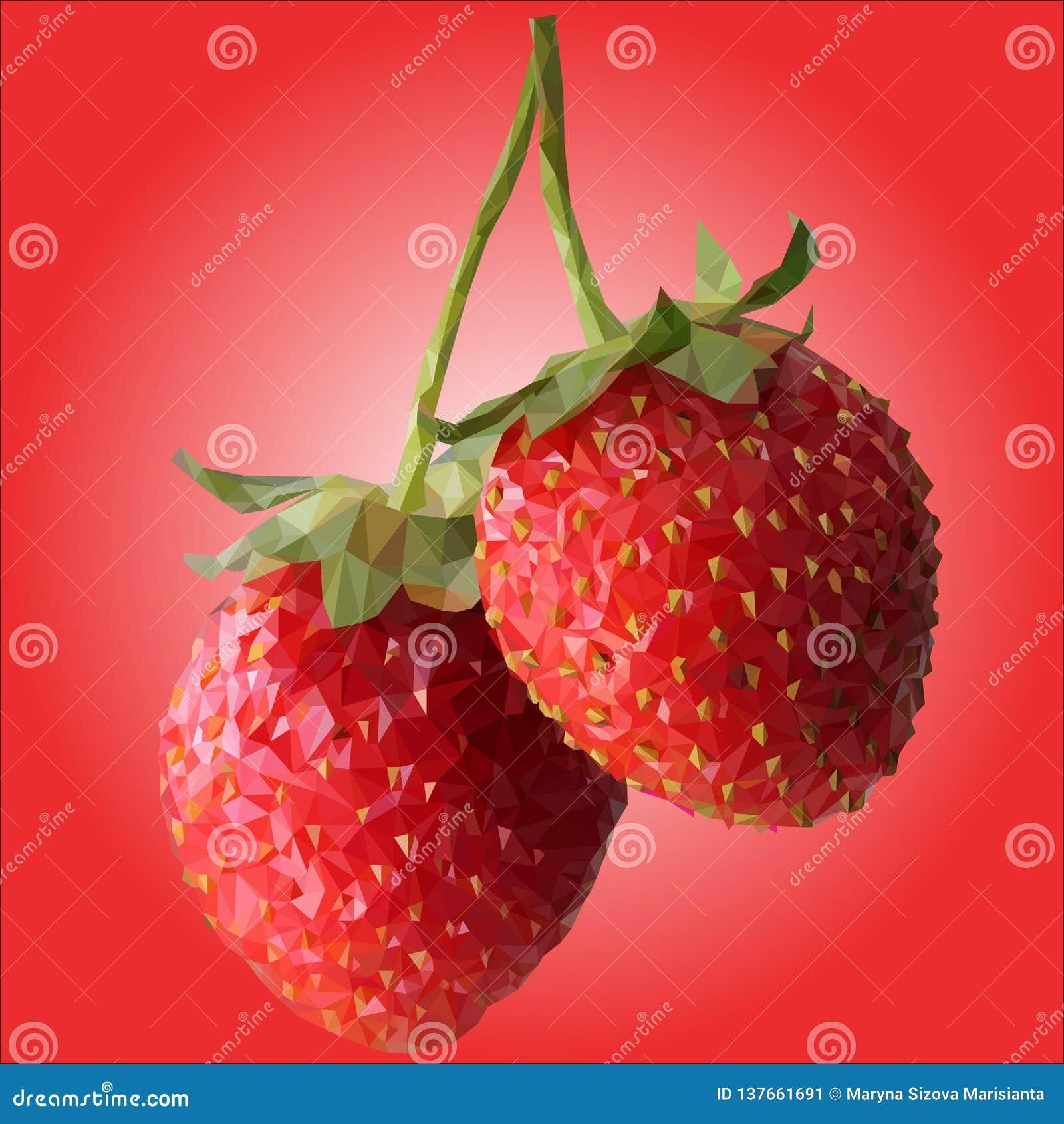 Deux grandes fraises sont bas poly
