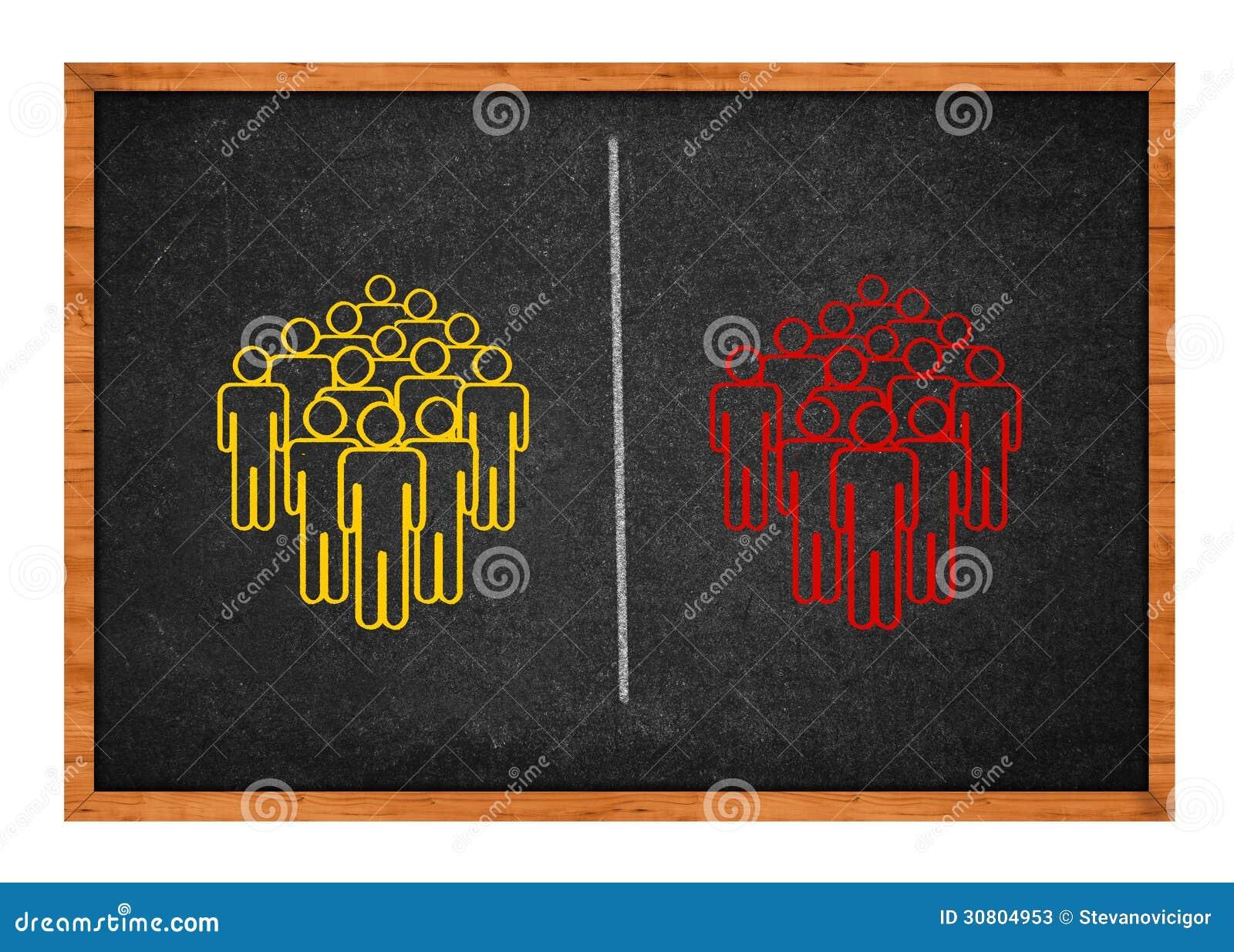 Deux groupes de personnes divisés