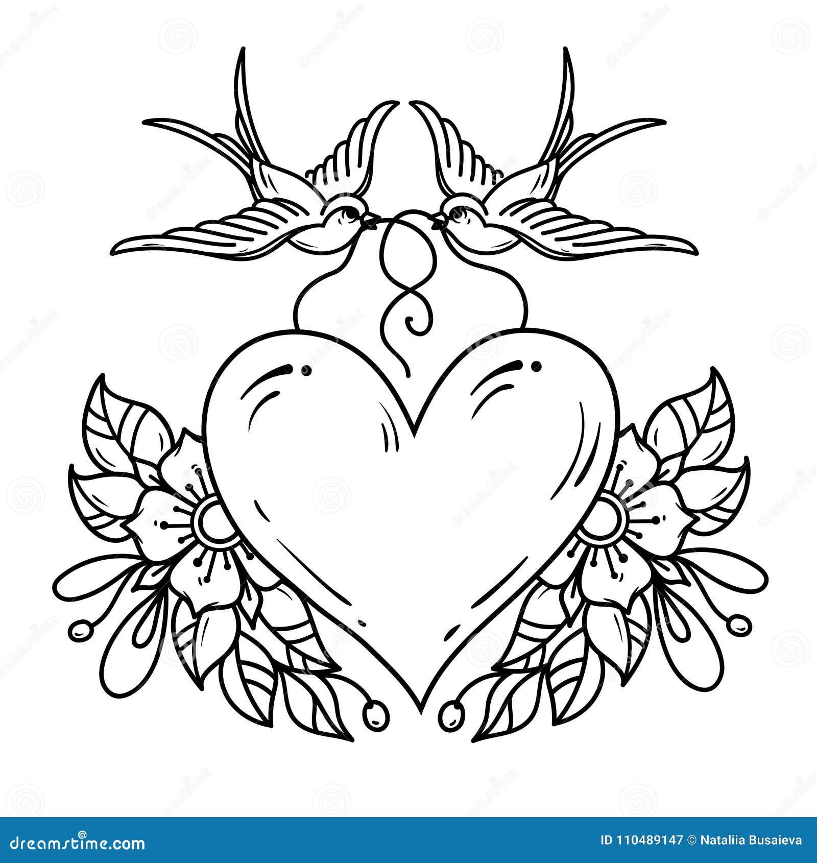 Deux Hirondelles Portent Le Coeur Rouge Décoré Des Fleurs