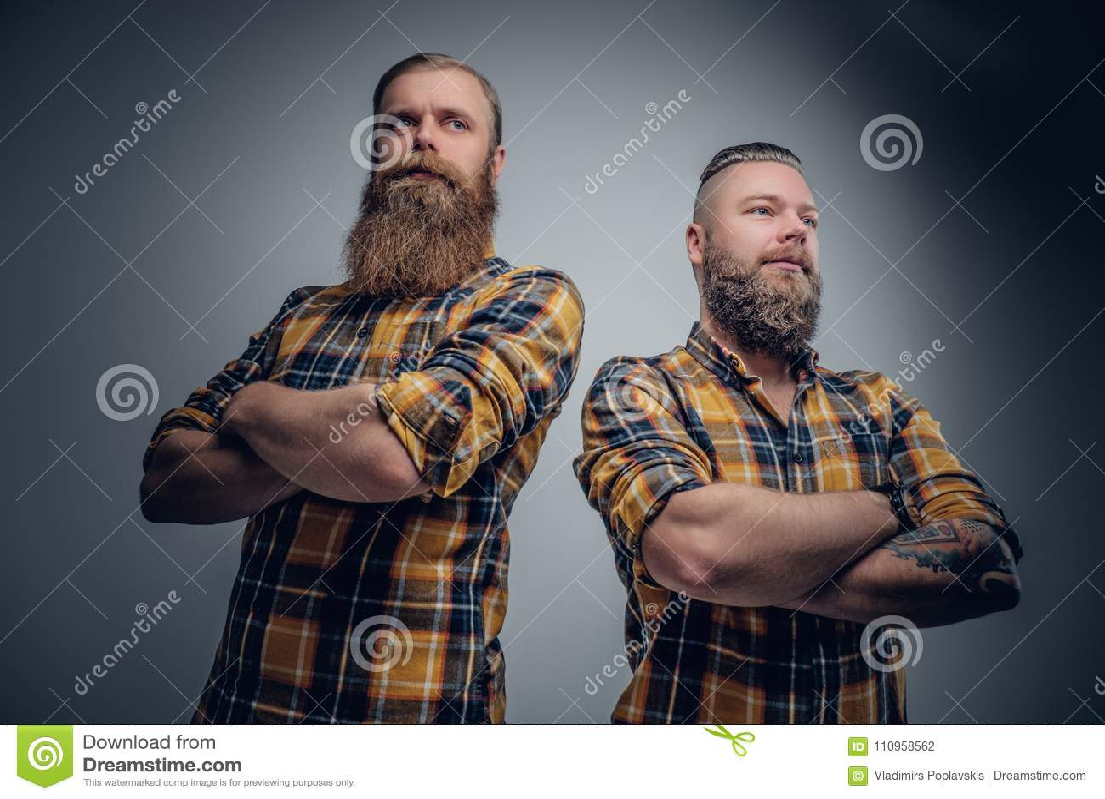 Deux hommes barbus brutaux se sont habillés dans une chemise de plaid