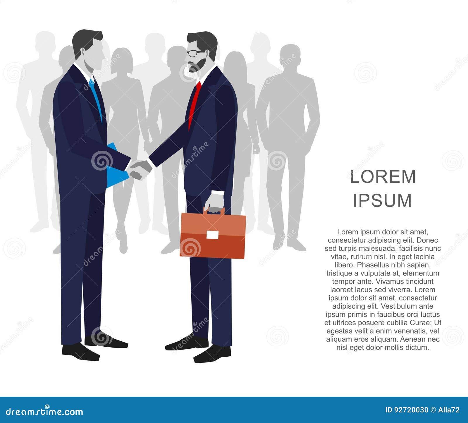 Deux hommes d affaires dans les costumes se serrant la main pour signer un contrat Le concept d une transaction réussie Groupe de