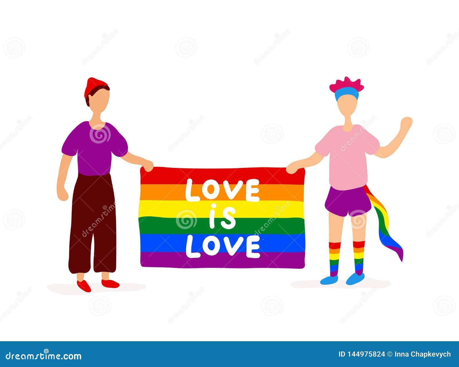 Deux homosexuels tenant le drapeau d arc-en-ciel
