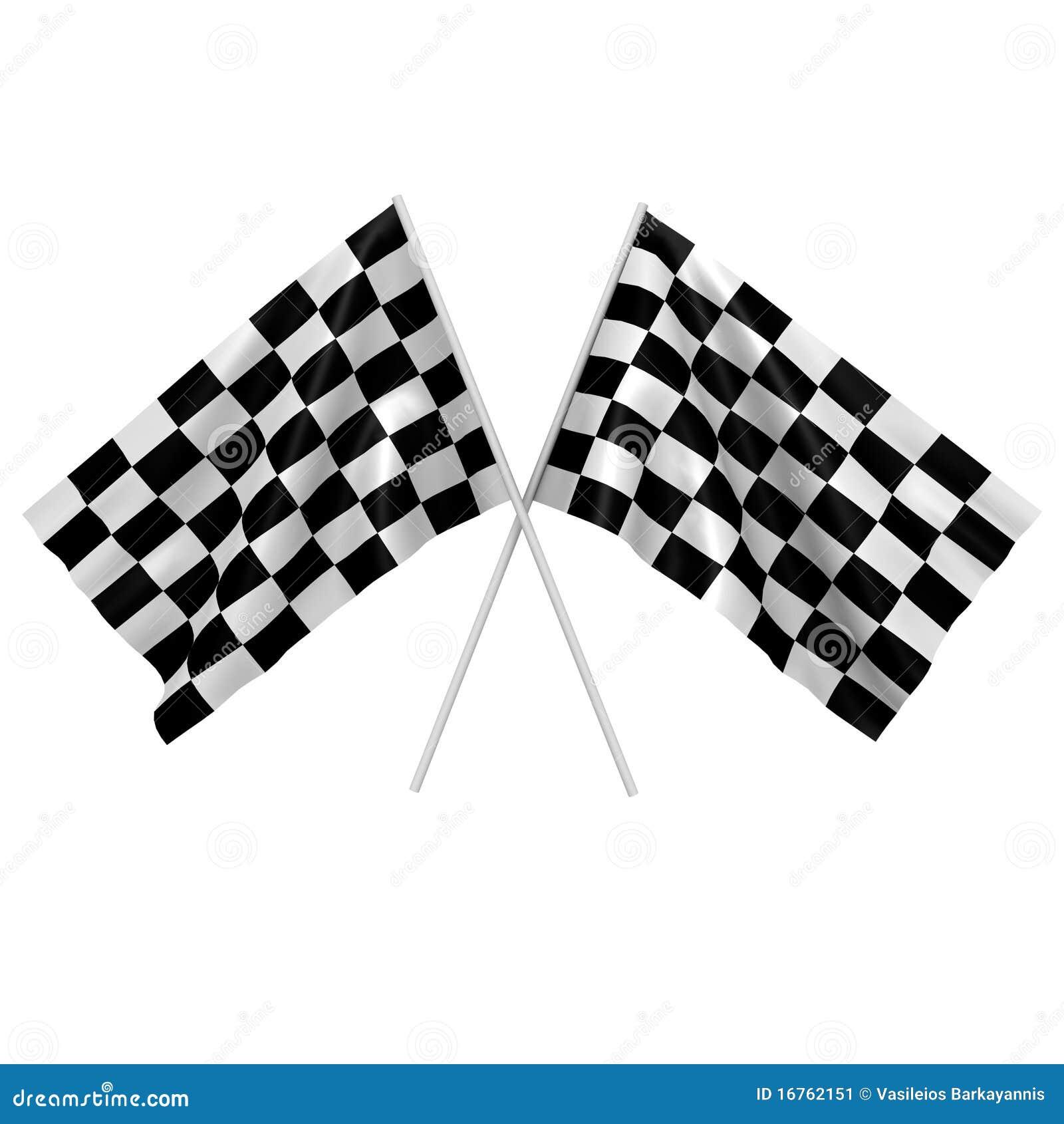 Deux indicateurs checkered de chemin - une image 3d
