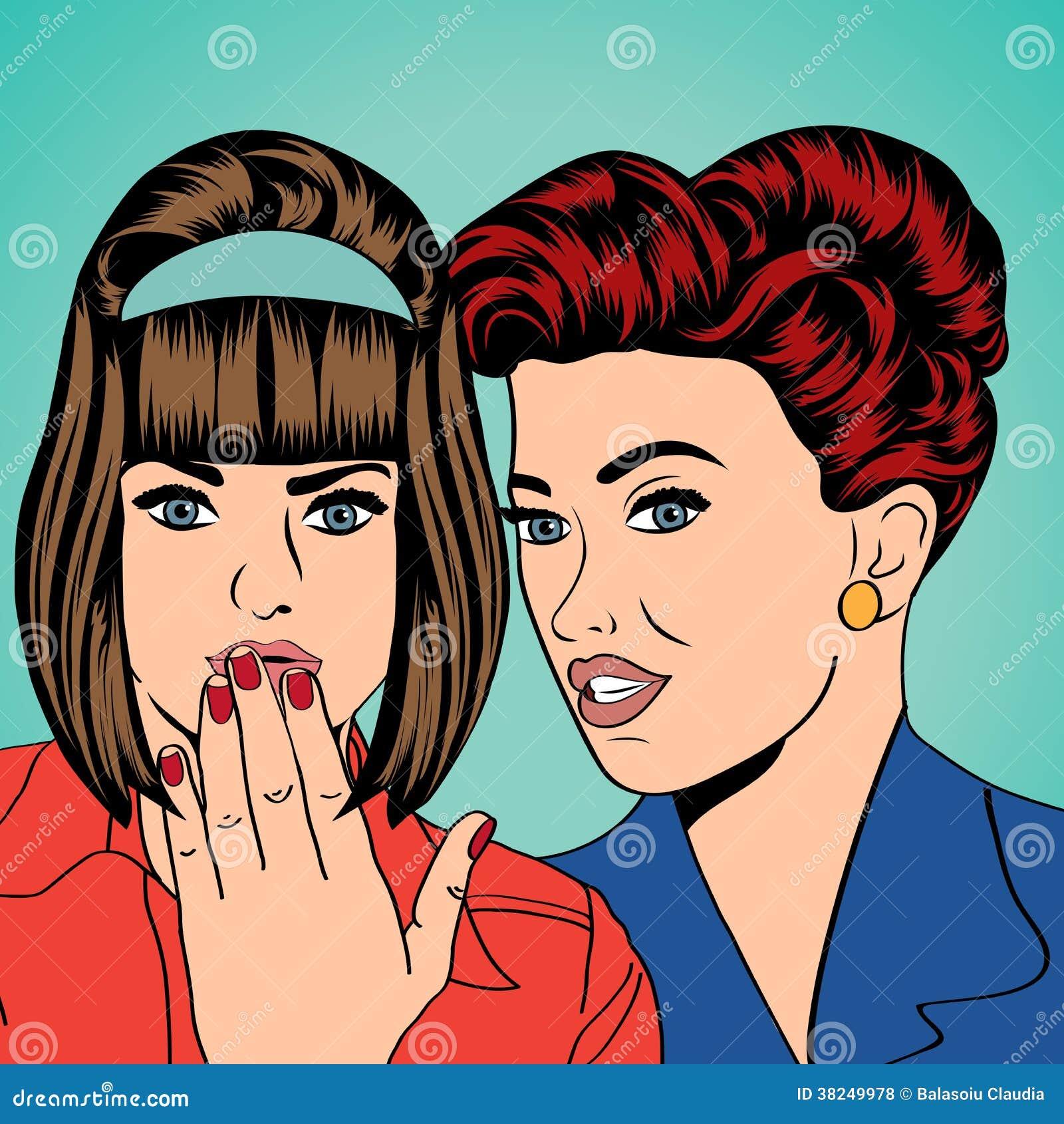 Deux jeunes amies parlant, illustration comique d art