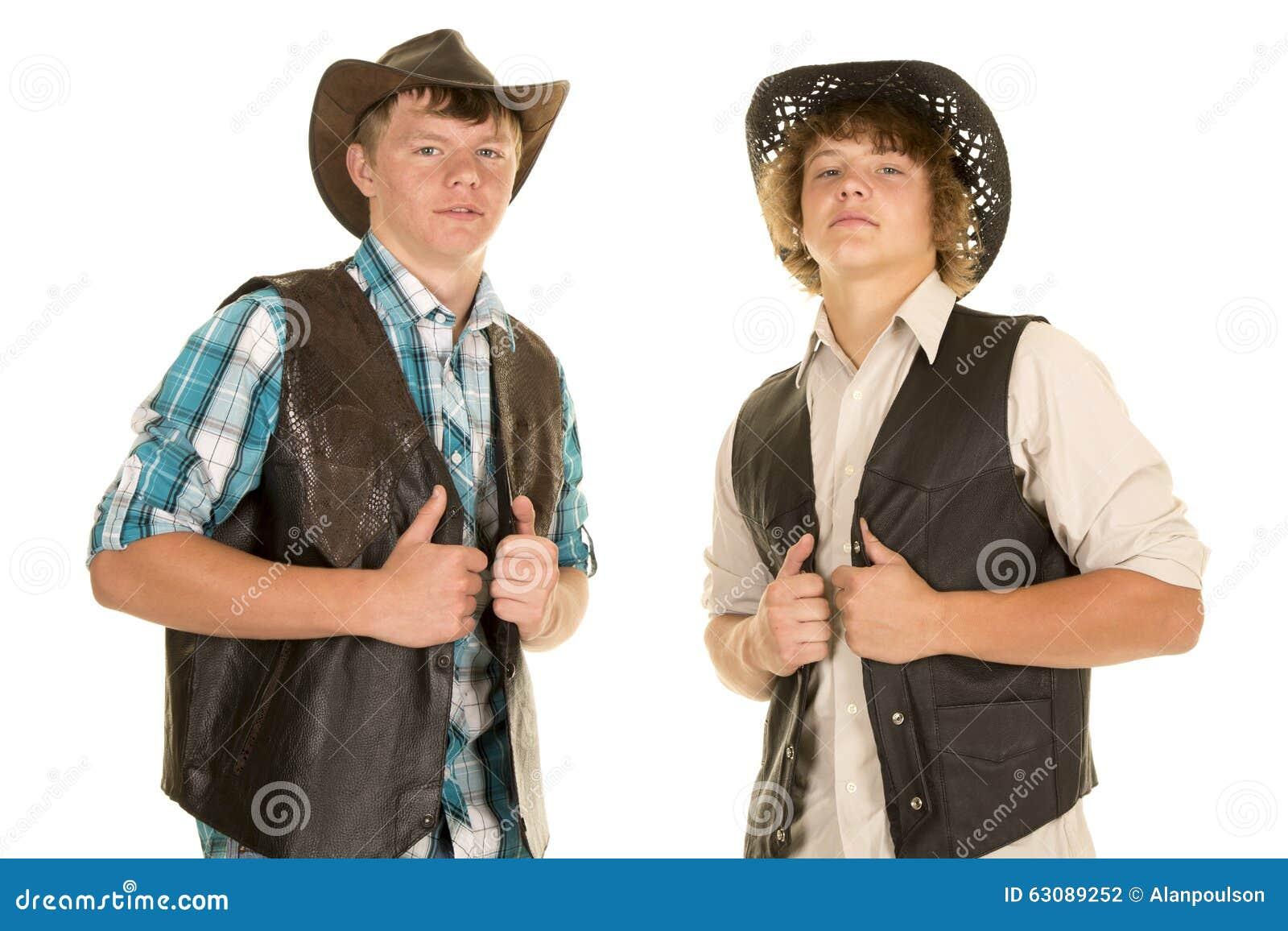 Download Deux Jeunes Gilets De Prise De Cowboys Photo stock - Image du mâle, bravez: 63089252