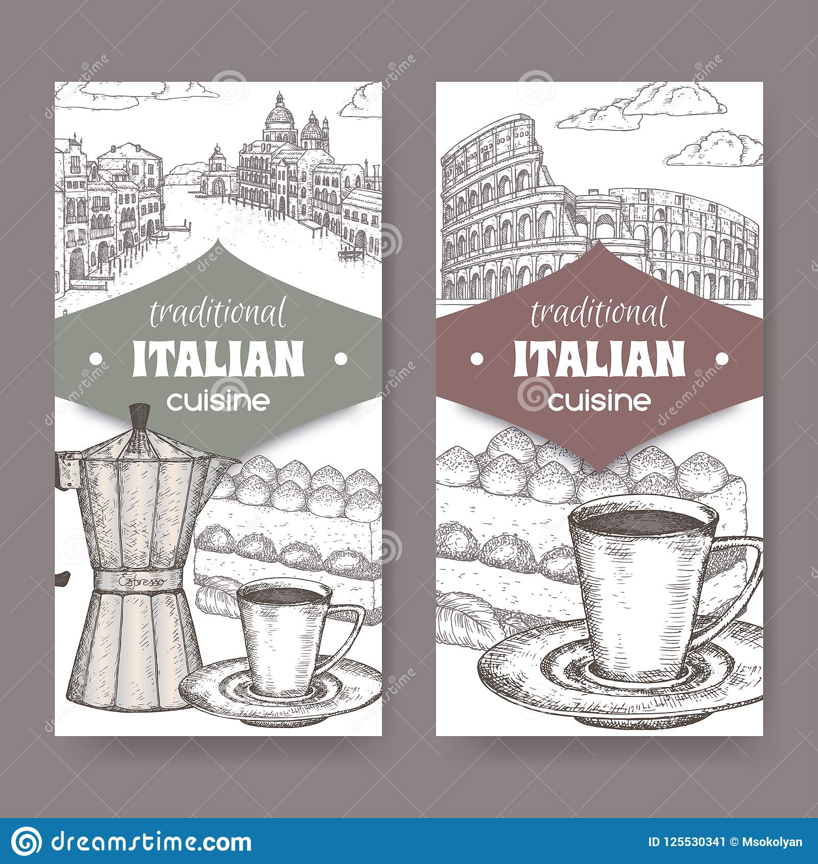 Fabricant Italien De Cuisine deux labels de cuisine d'italien avec venise et rome