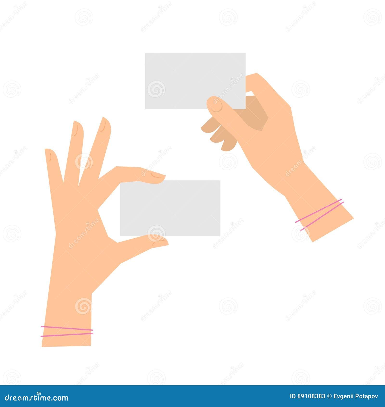 Deux Mains Du S De Femmes Tiennent Des Cartes Visite Professionnelle Calibre