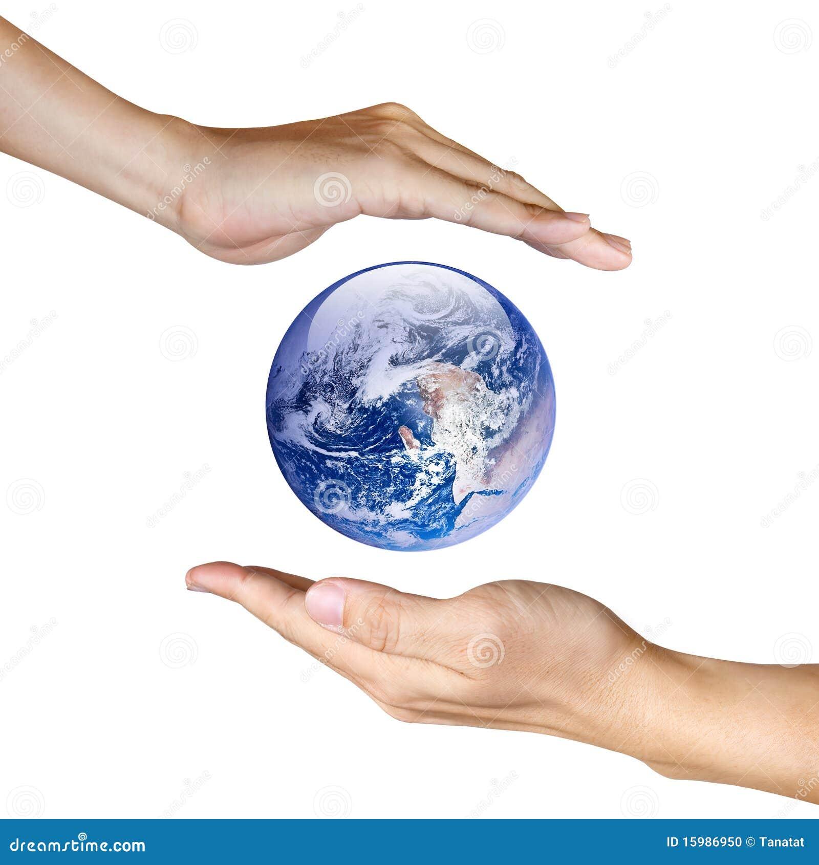 Deux mains sauvant la terre photo stock image 15986950 for Ohrensessel 2 hand