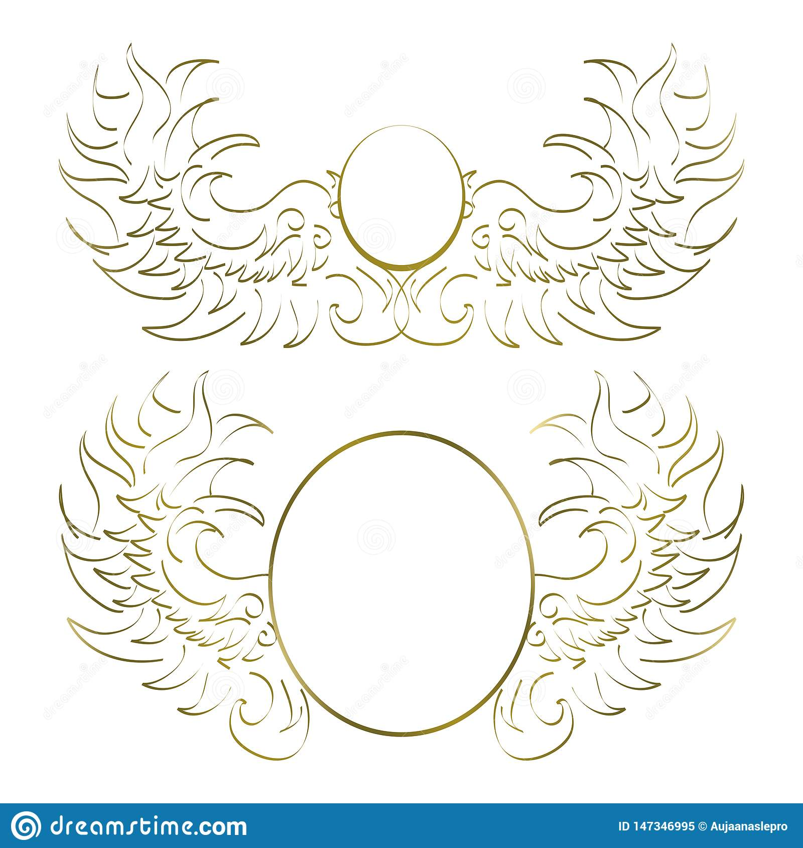 Deux modèles abstraits blancs et d or pour placer le logo