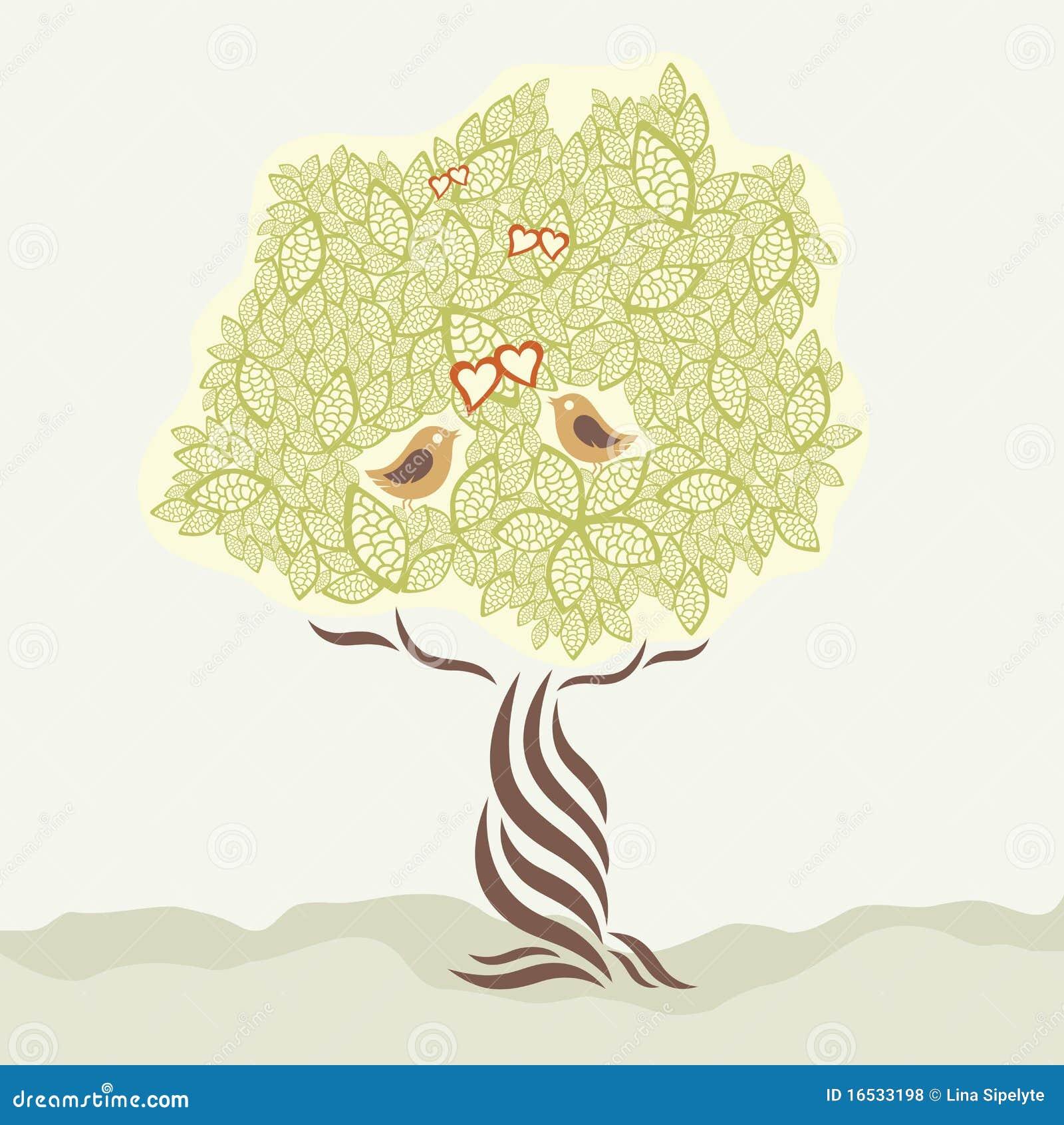 Deux oiseaux d amour et arbre stylisé