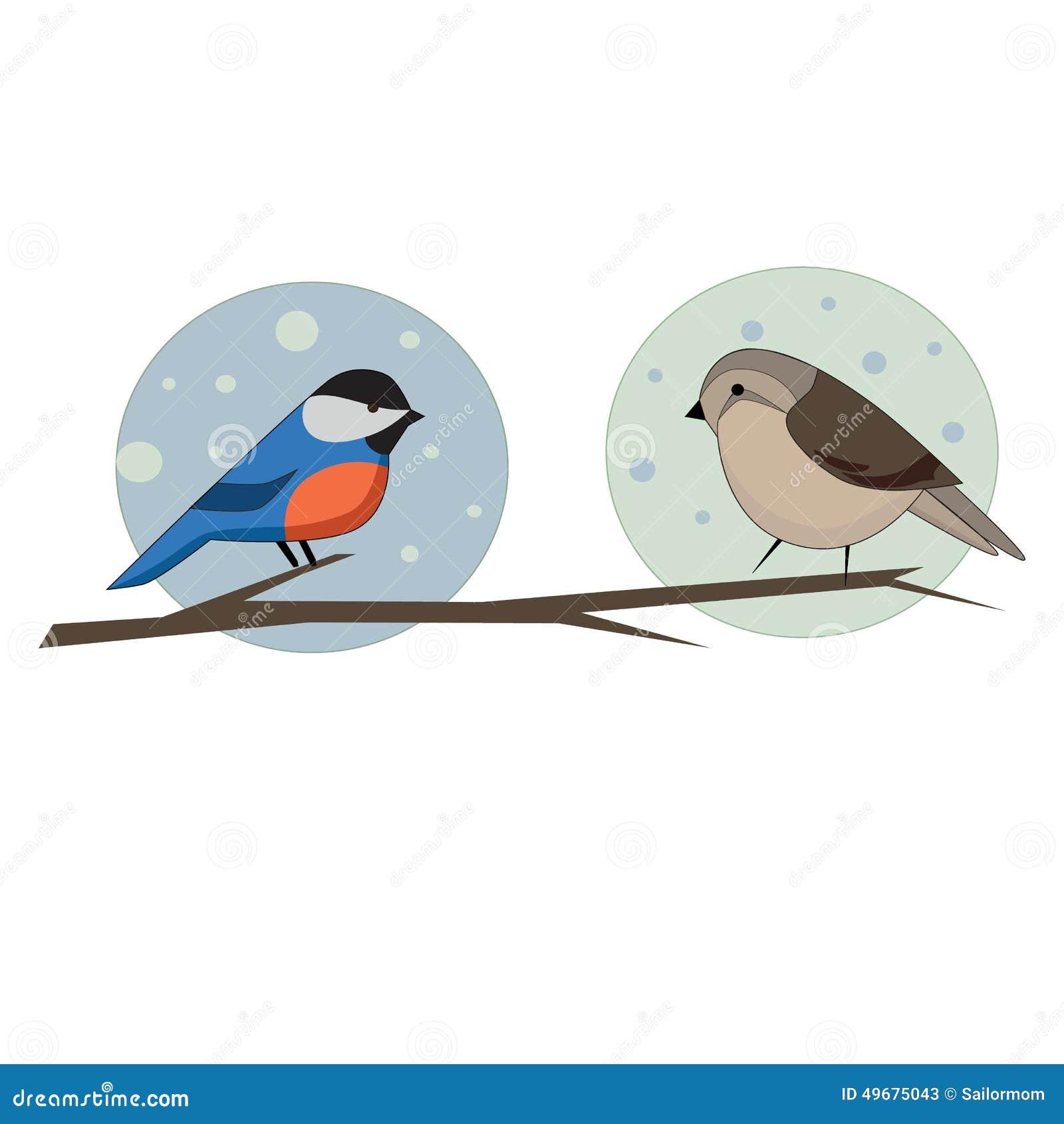 Deux oiseaux sur la branche