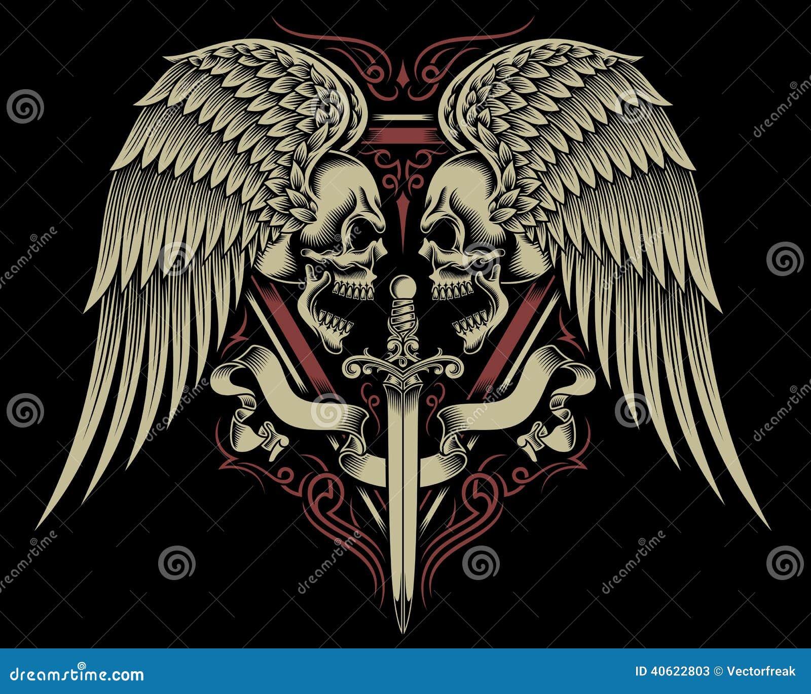 Deux ont fait face au crâne avec les ailes et l épée