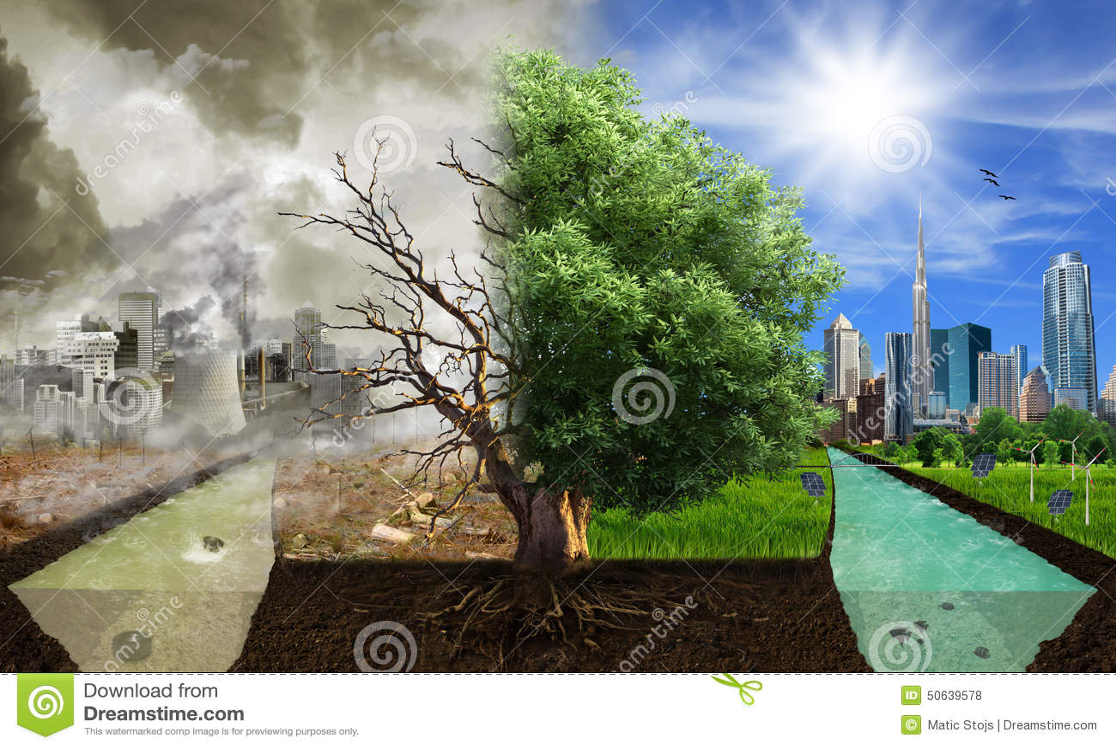 Deux options/côtés, concept d eco, art numérique d eco