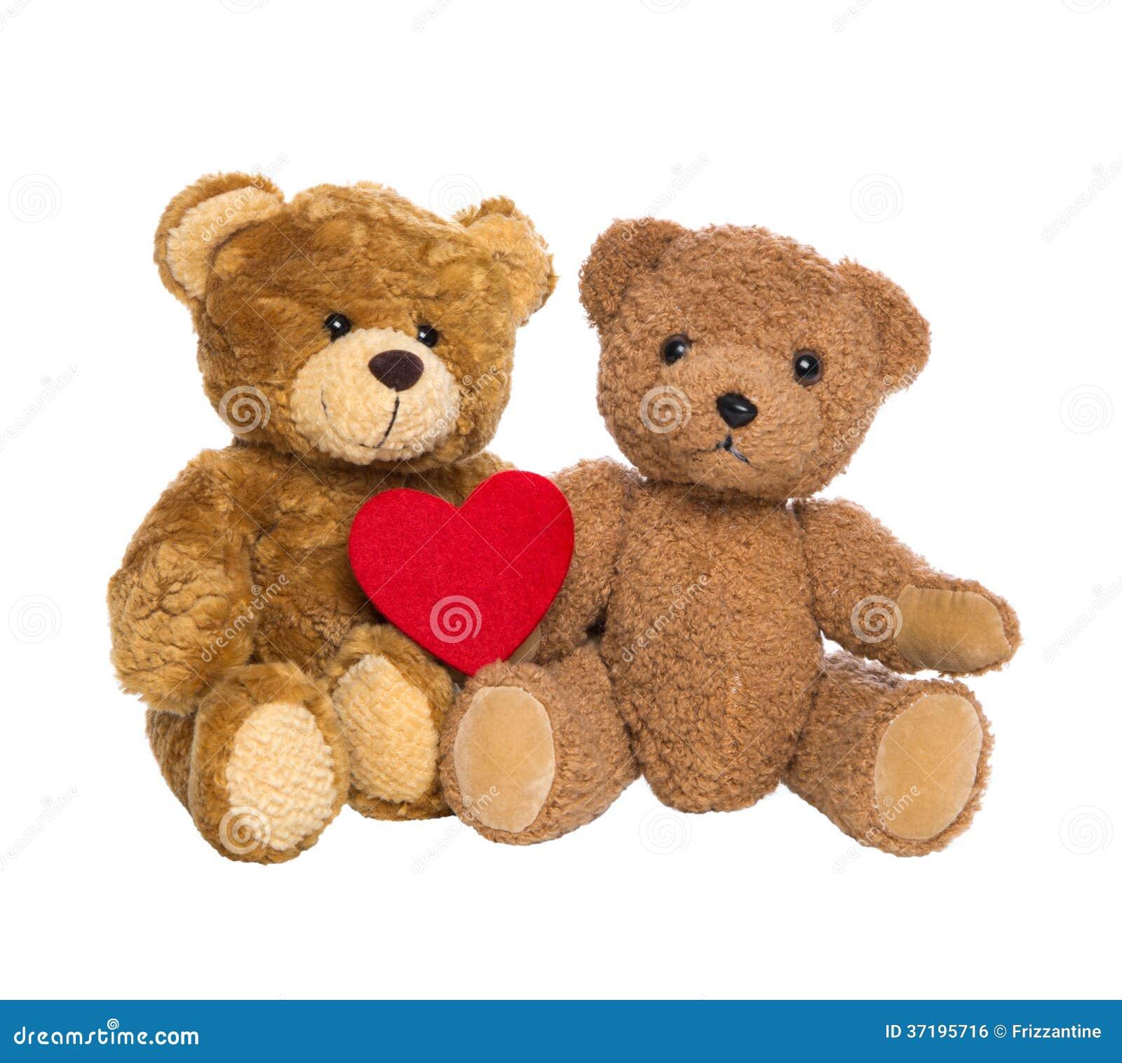 Deux ours de nounours heureux avec un coeur rouge d 39 isolement sur le backgro blanc photo stock - Coeur nounours ...