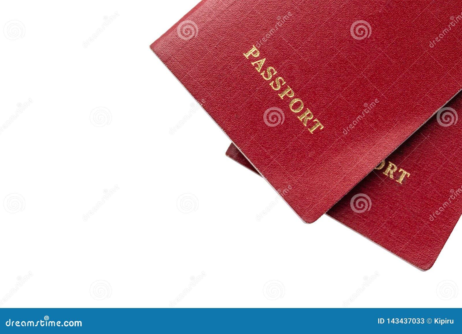 Deux passeports sur le fond d isolement avec l espace libre