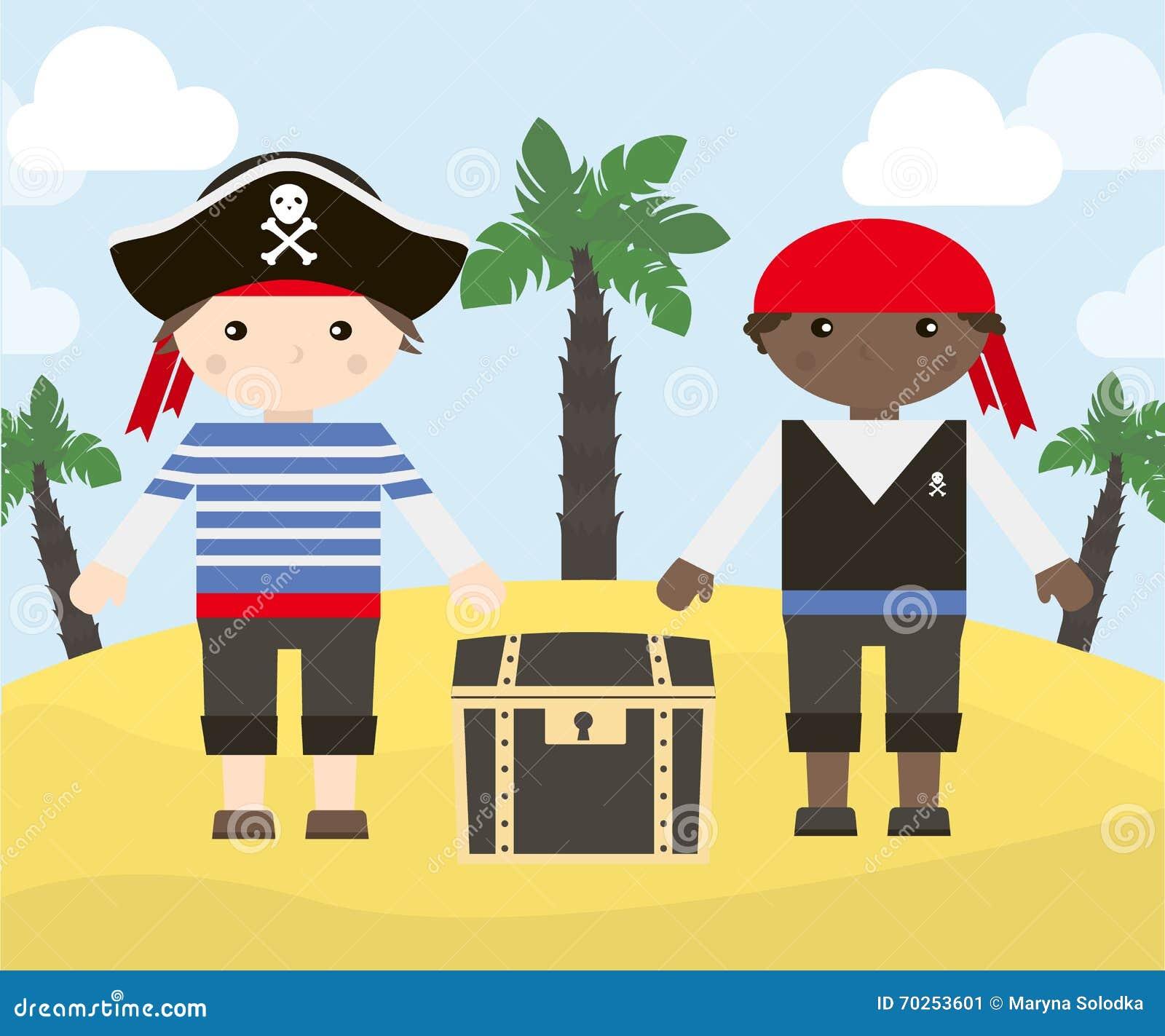 Deux personnages de dessin anim des pirates avec le - Dessin de coffre de pirate ...