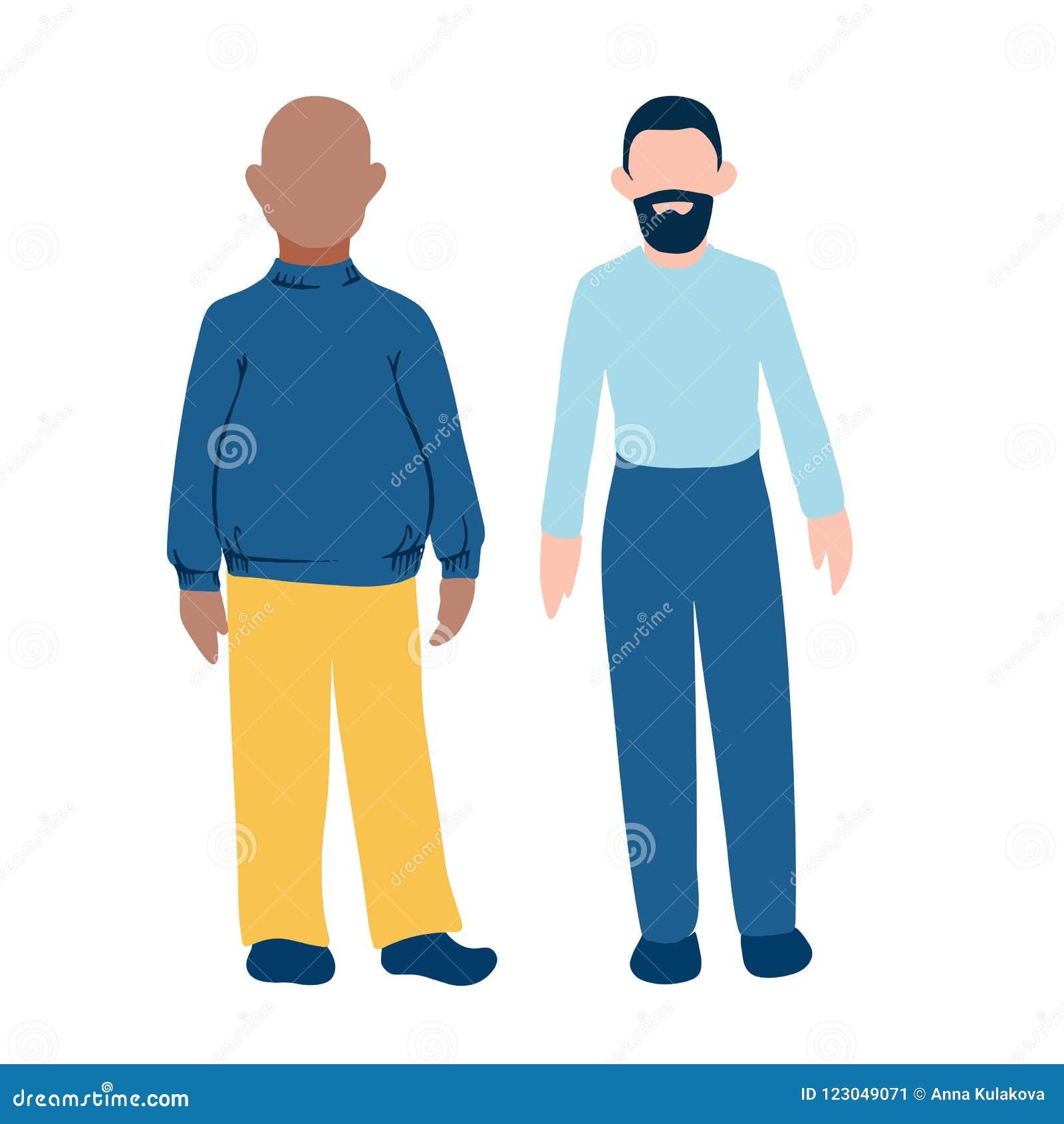 Deux personnalités masculines avec la couleur de la peau et le corps différents forment Grosse peau foncée et style plat IC d hom