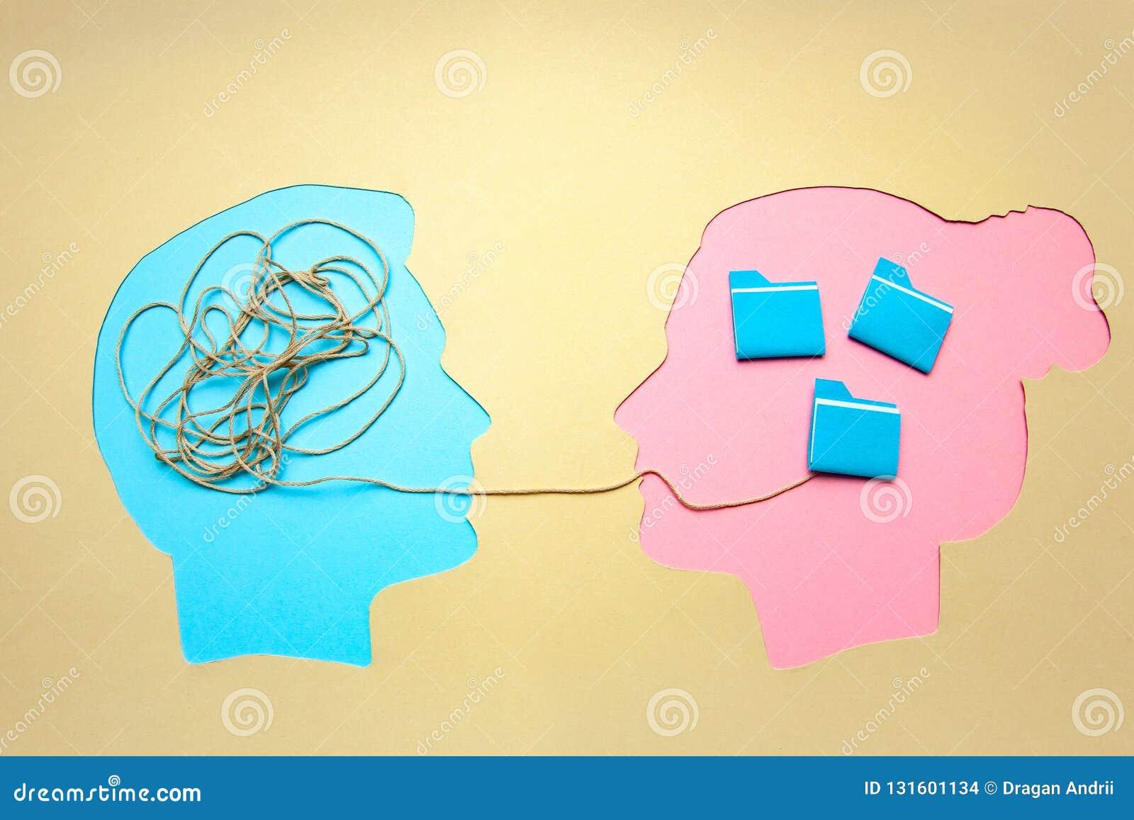 Deux personnes communiquent face à face, l homme et la femme Décodage de concept et problème de compréhension, conflit