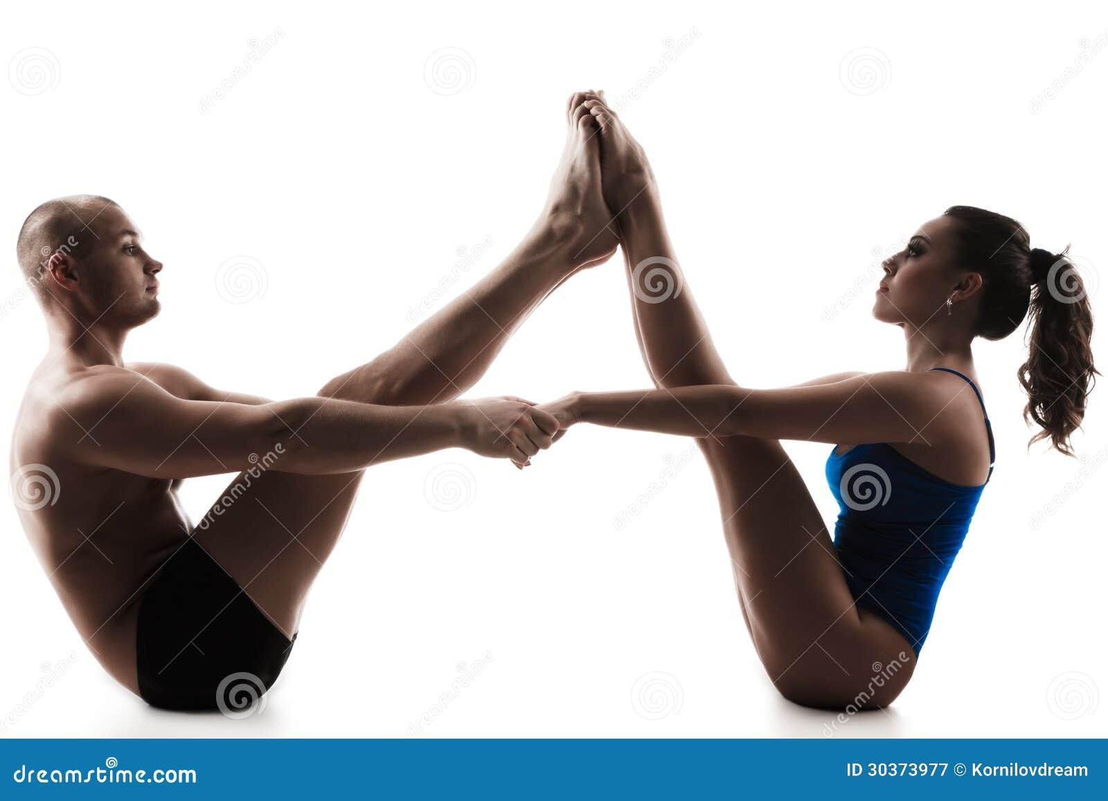 Download Pose De Bateau Dasana Nauka Yoga Couples Image Stock
