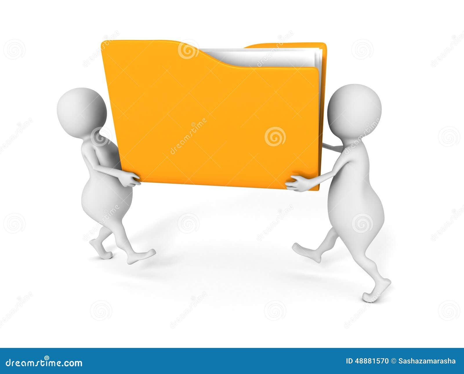 deux personnes portent le dossier de fichier papier jaune de document de bureau illustration. Black Bedroom Furniture Sets. Home Design Ideas