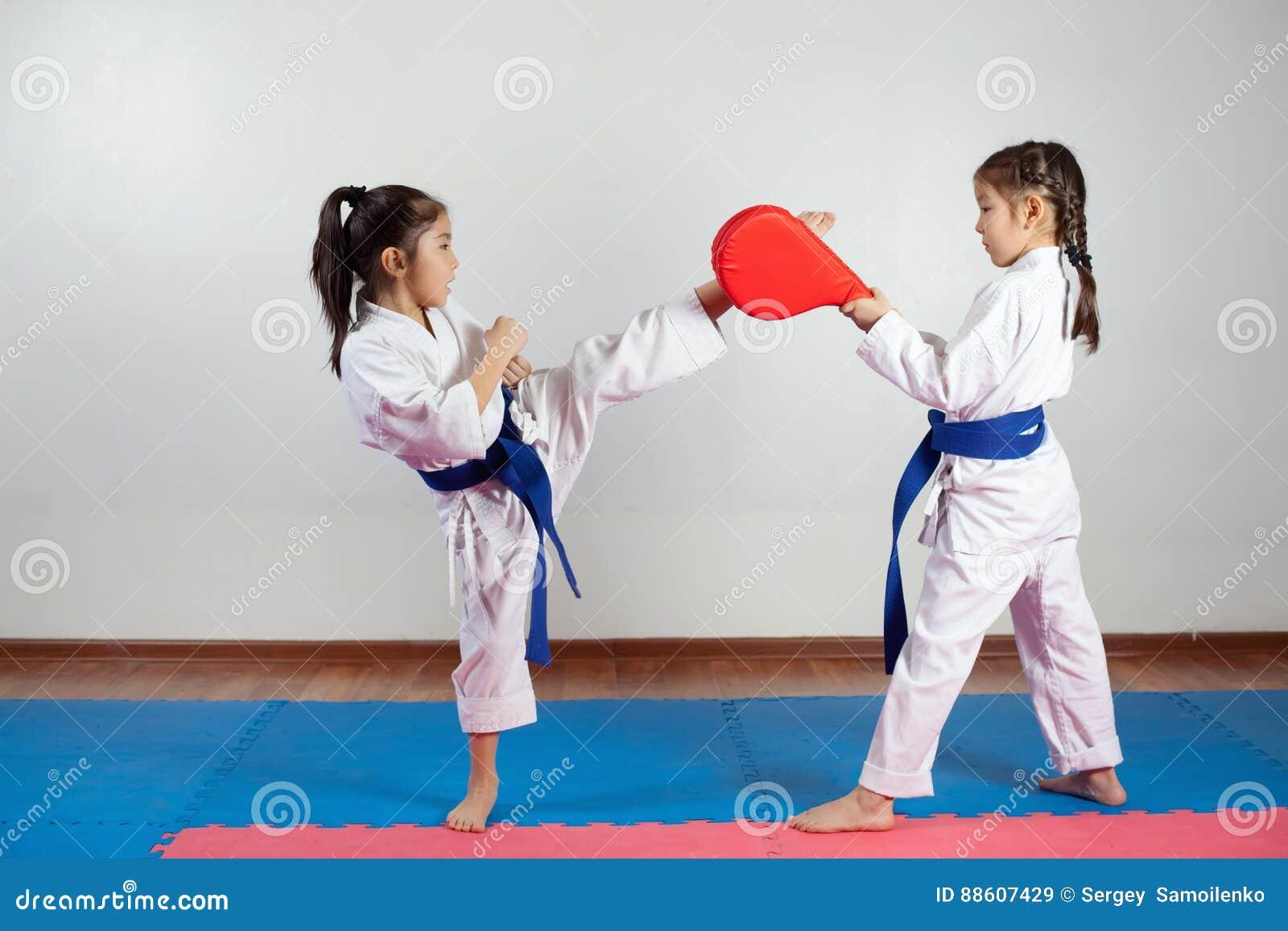 Deux petites filles démontrent des arts martiaux fonctionnant ensemble