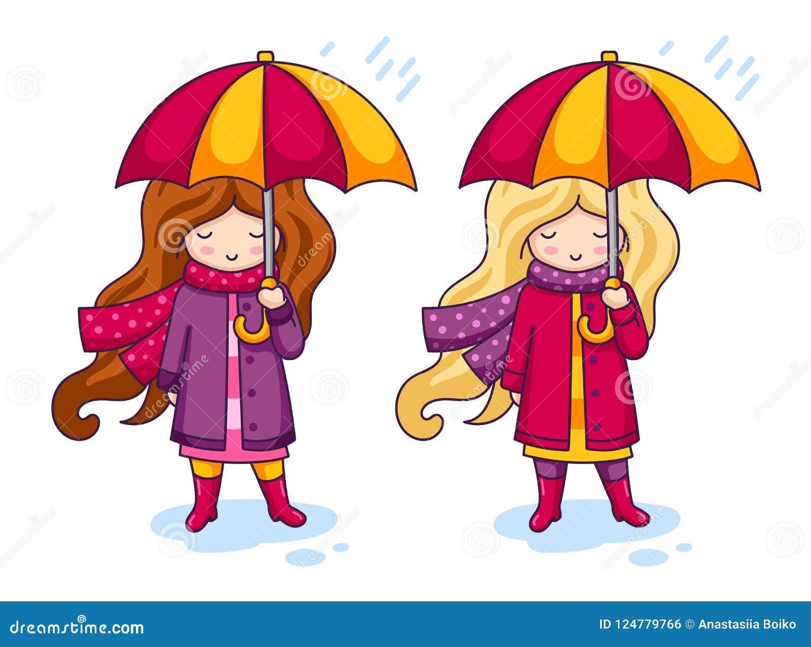 Deux Petites Filles Mignonnes Dans Des Manteaux Roses Et