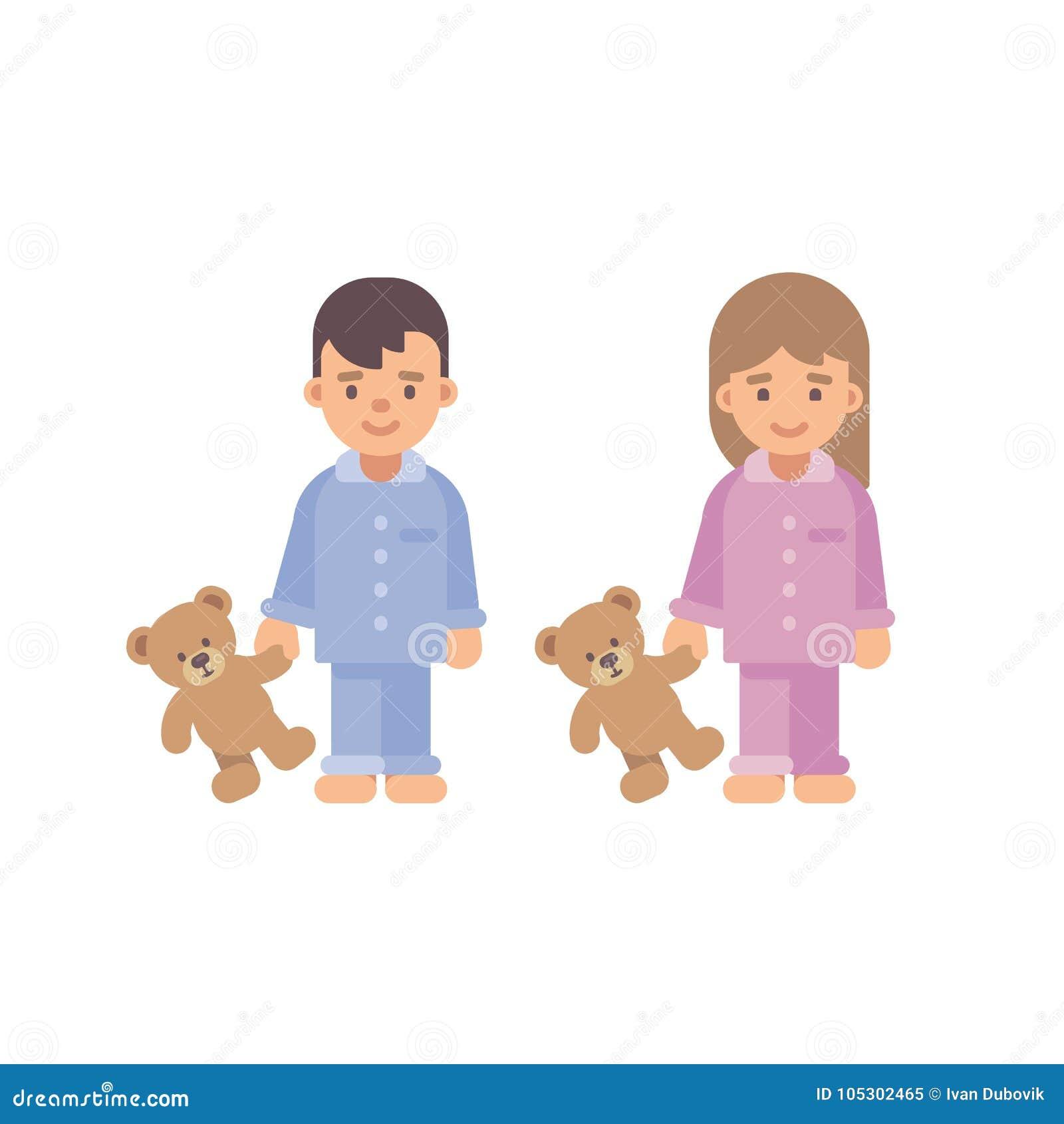 8f6f3df9f2e8b Deux petits enfants mignons dans des pyjamas tenant des ours de nounours  Garçon et fille
