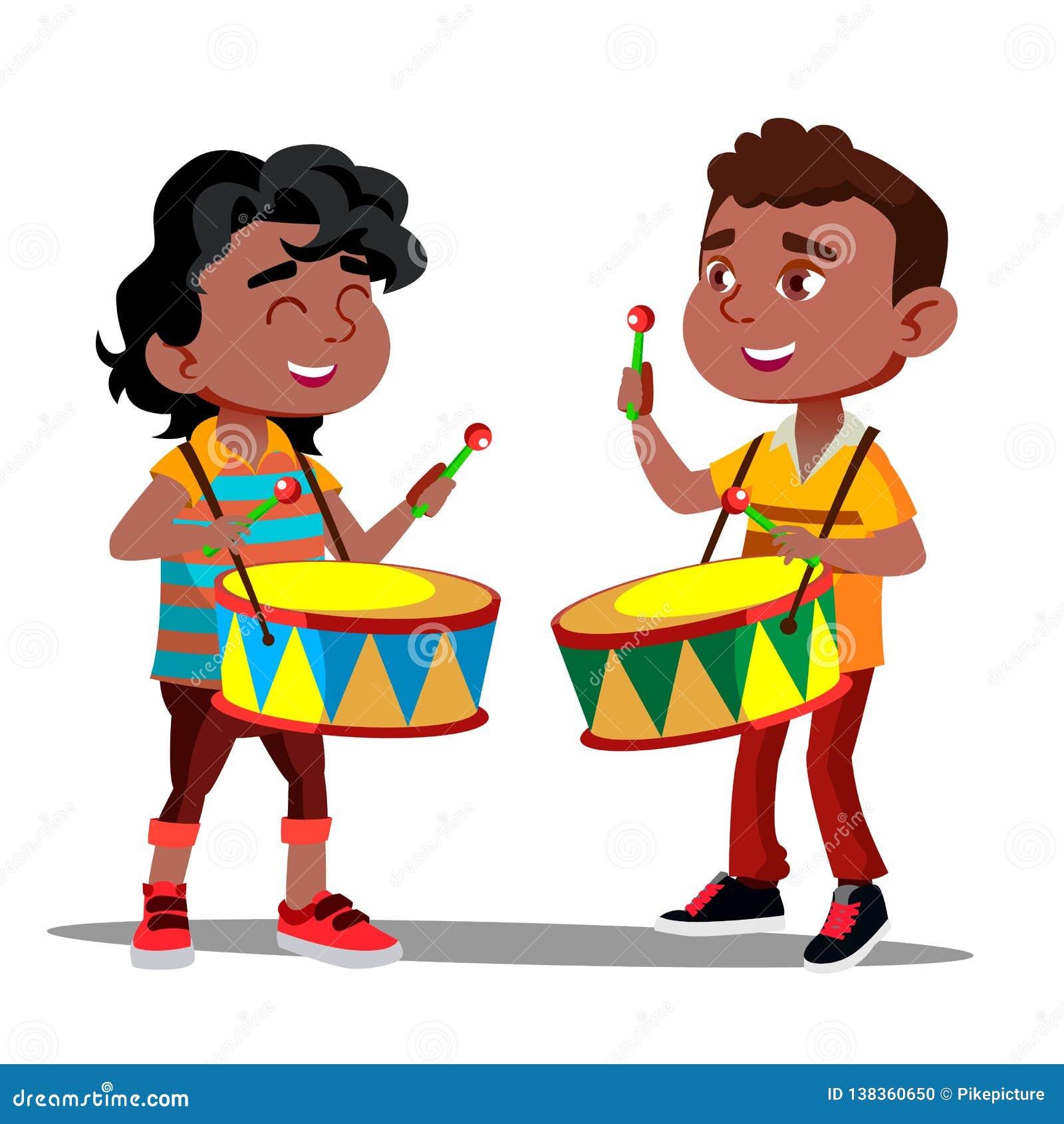 Deux petits garçons afro-américains battant les tambours et dansant le vecteur Illustration d isolement