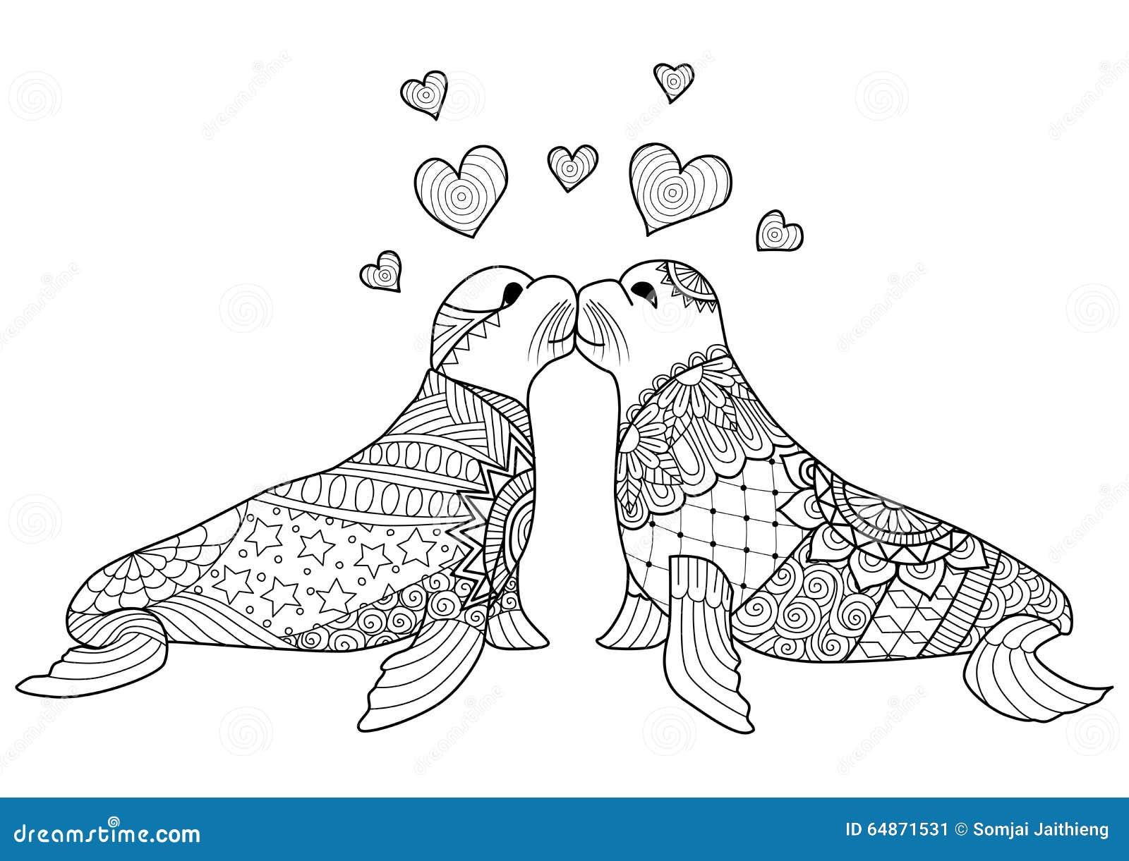 Coloriage adulte animaux phoque - Coloriage de phoque ...