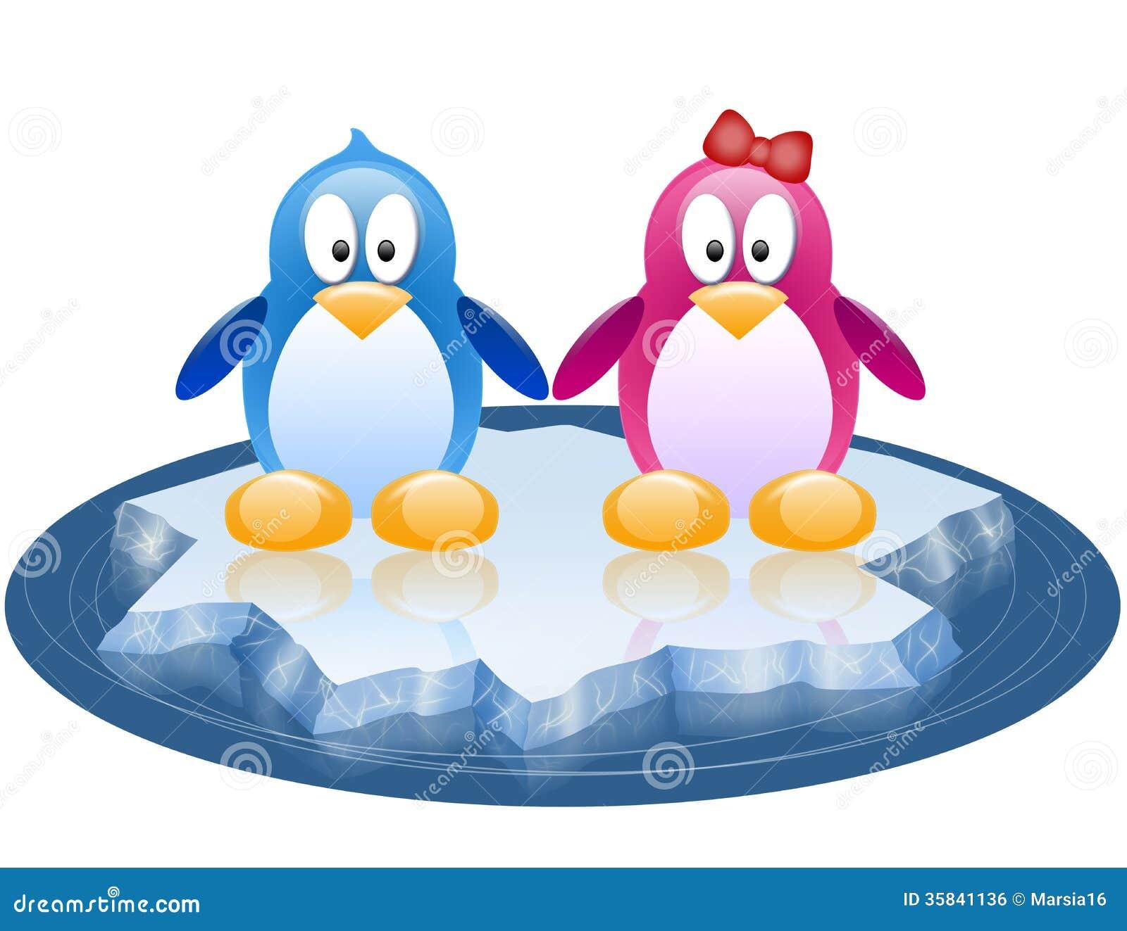 deux pingouins d rivant sur la banquise image libre de droits image 35841136. Black Bedroom Furniture Sets. Home Design Ideas