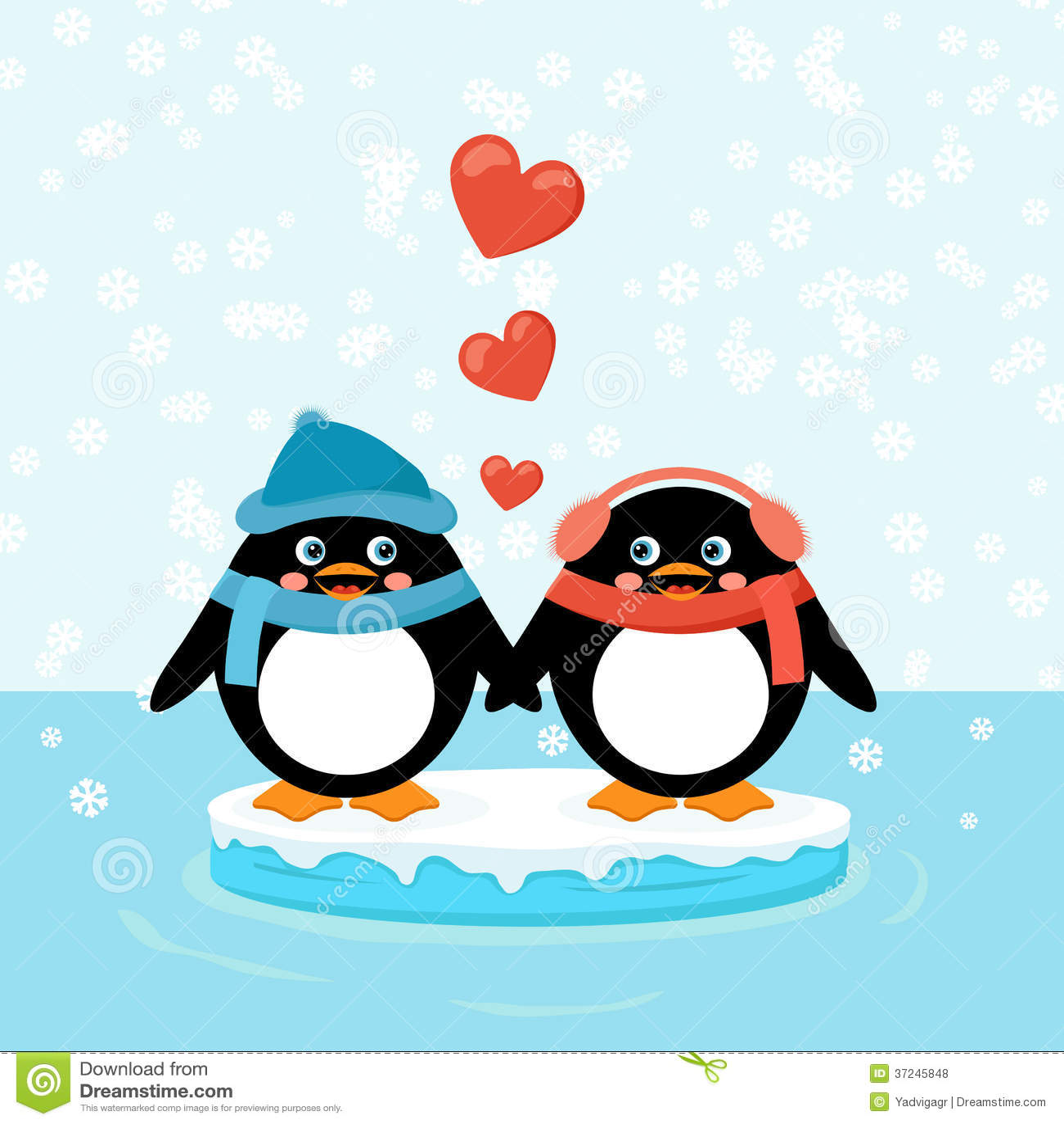 deux pingouins sur la banquise avec des coeurs illustration de vecteur illustration du glace. Black Bedroom Furniture Sets. Home Design Ideas