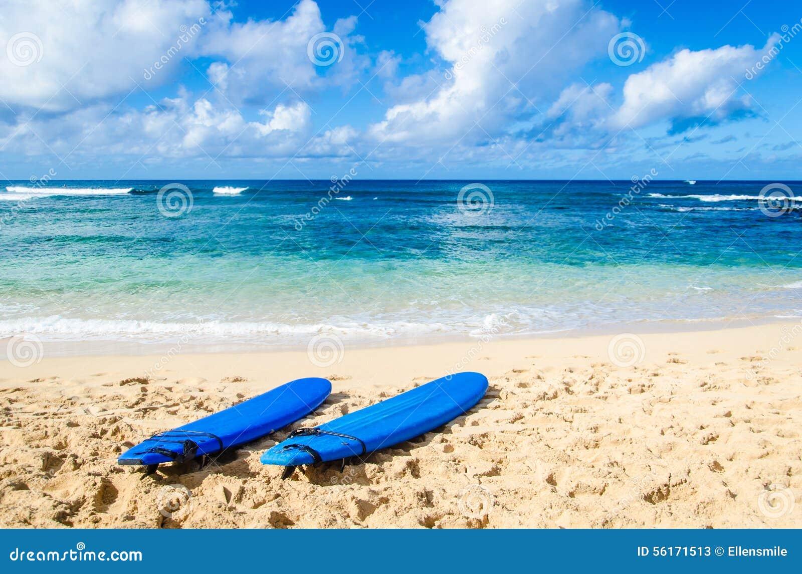 Deux planches de surf sur la plage sablonneuse en Hawaï