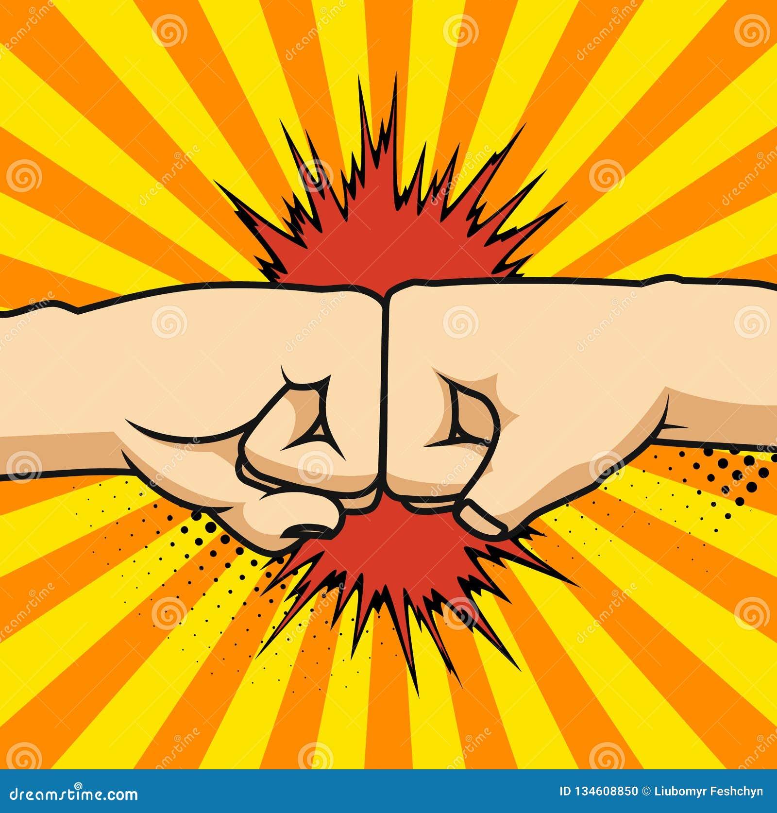 Deux poings cognant ensemble l illustration de vecteur, deux mains avec des poings en air poinçonnant, concept de combat, bande d